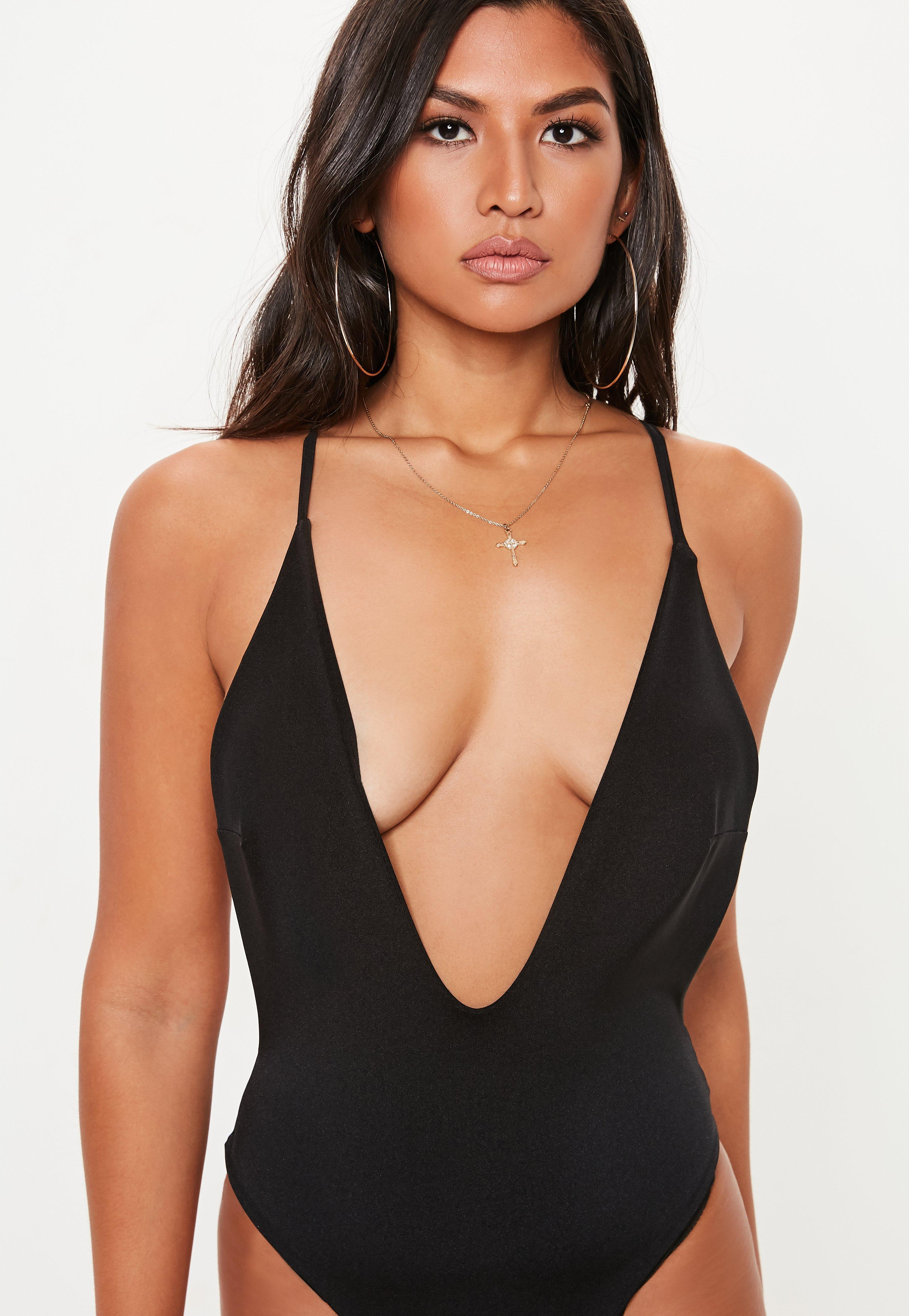 490c6846a8f Missguided - Black Strappy Extreme Plunge Swimsuit - Lyst. View fullscreen