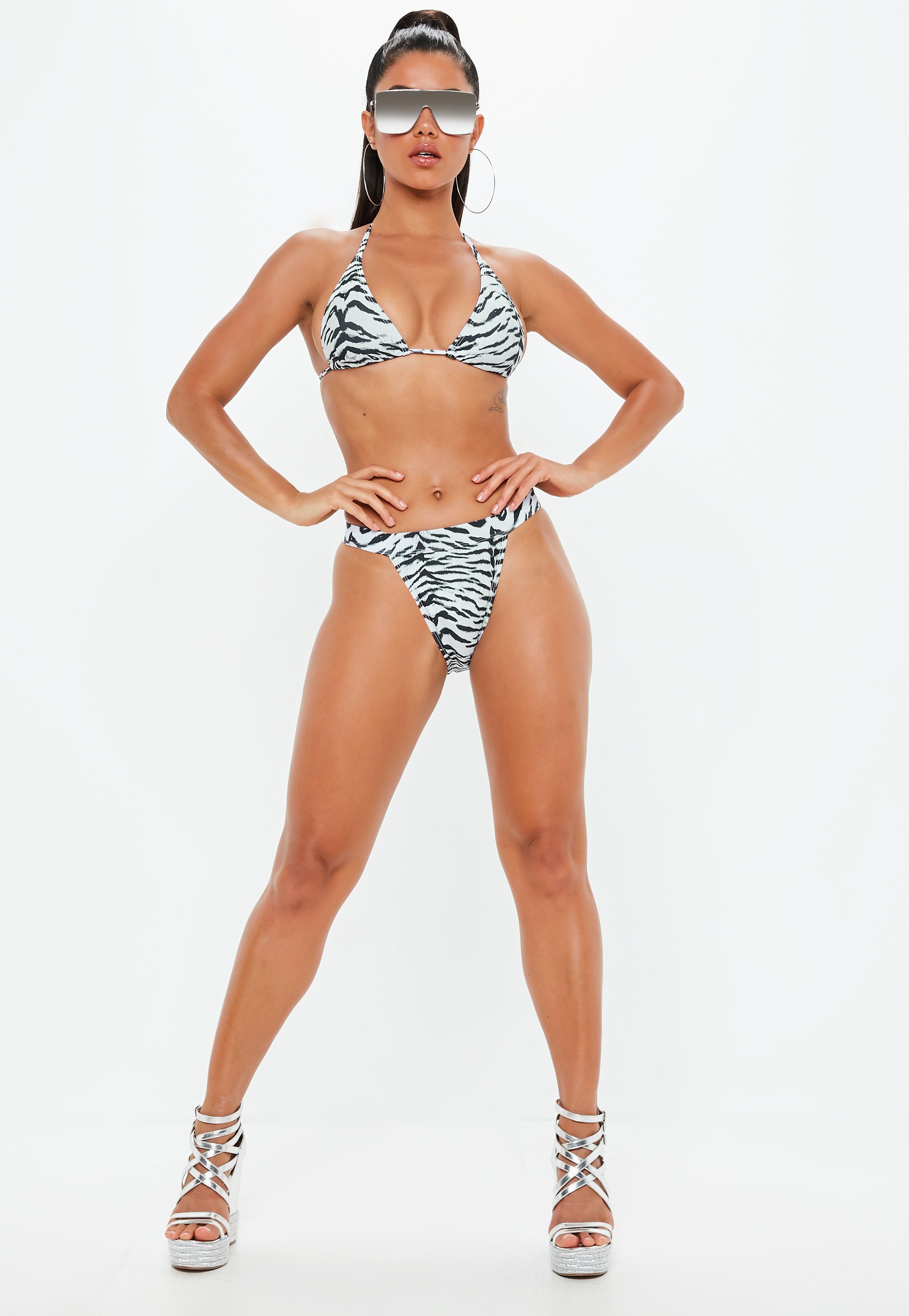 7597423a17e1f Missguided White Tiger Triangle Bikini Top in White - Lyst