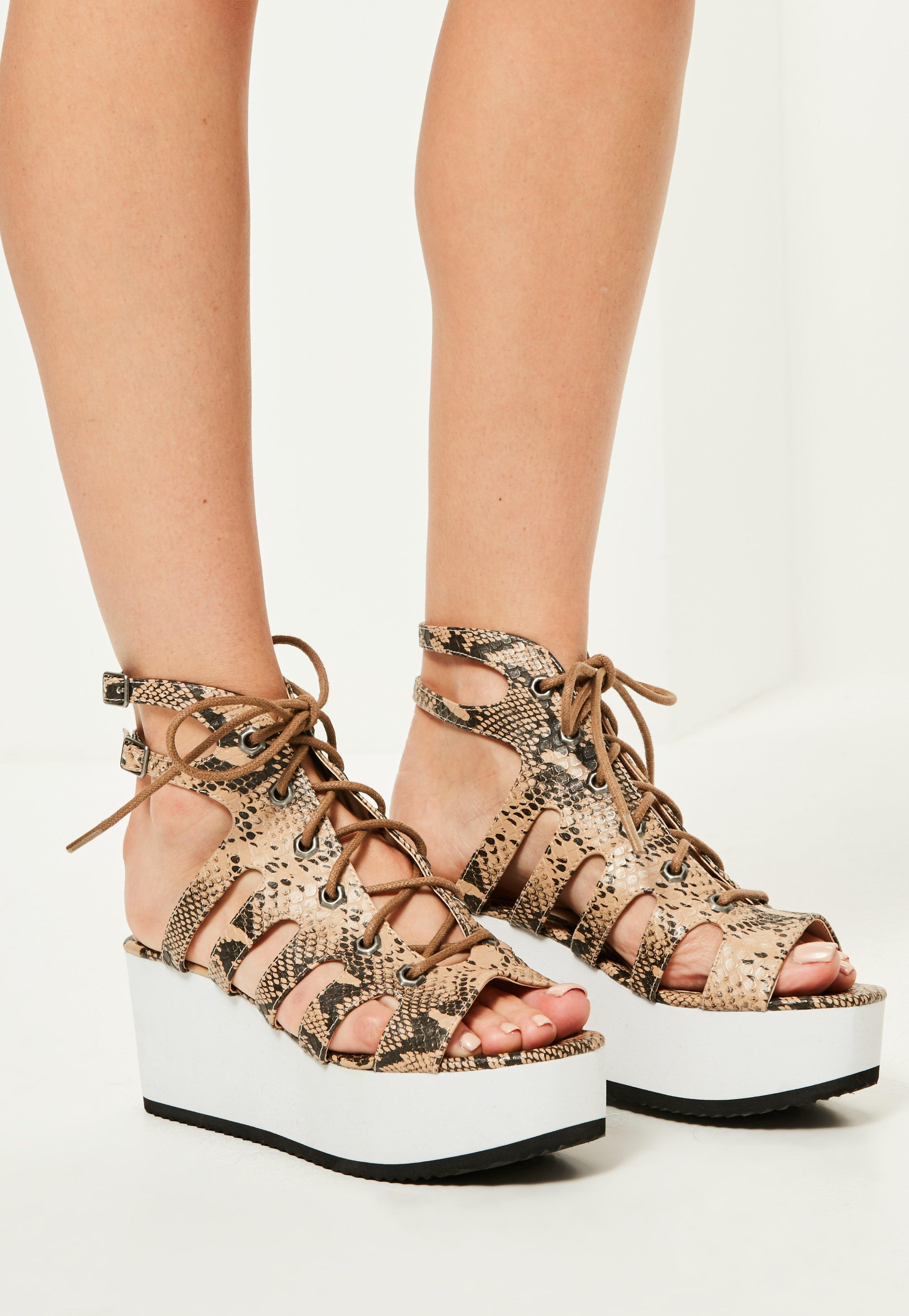 0c6db4581dd7 Lyst - Missguided Nude Snake Print Lace Up Flatform Sandals in Natural