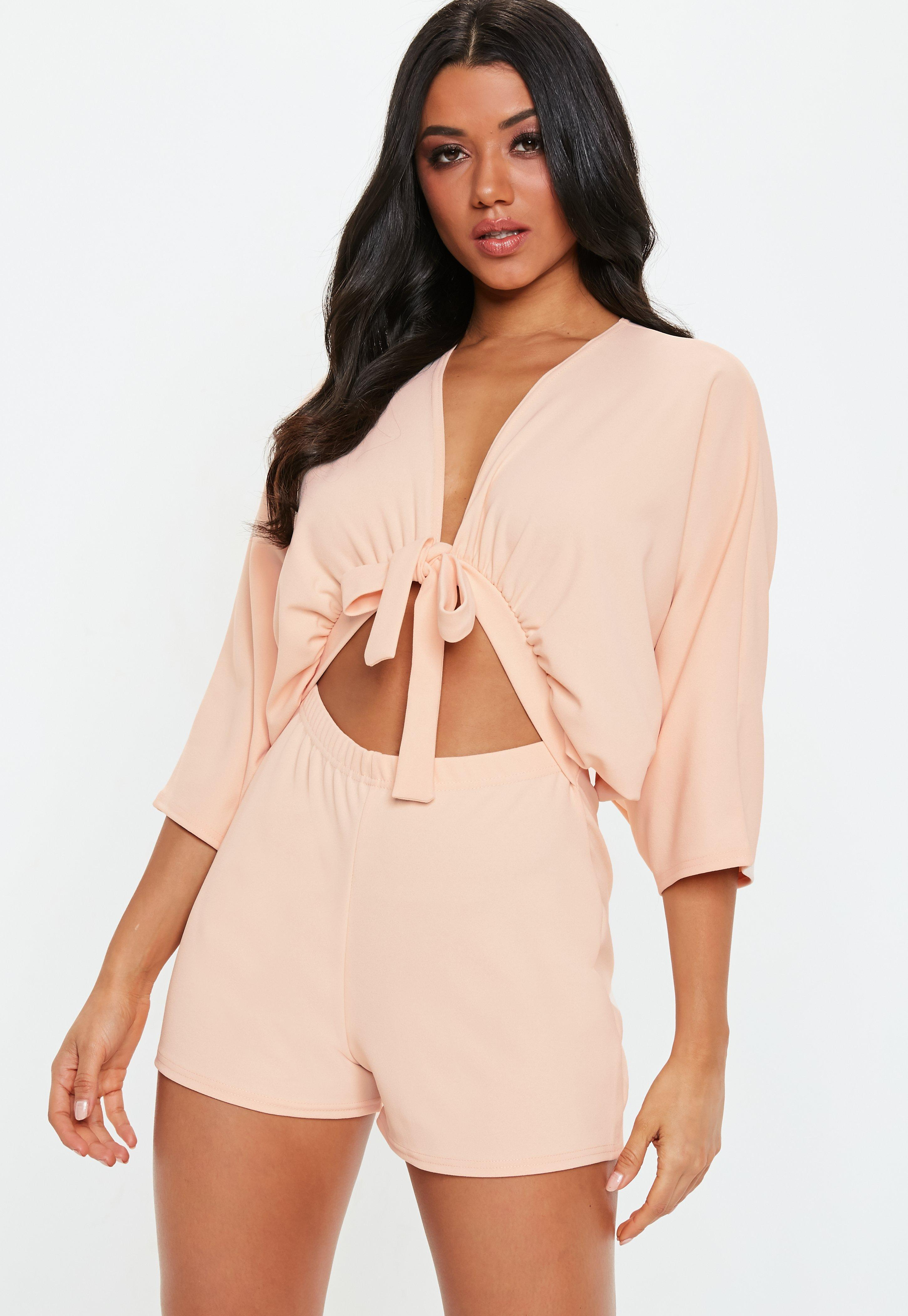 c1c93f6c9f Lyst - Missguided Blush Kimono Sleeve Tie Front Romper in Pink