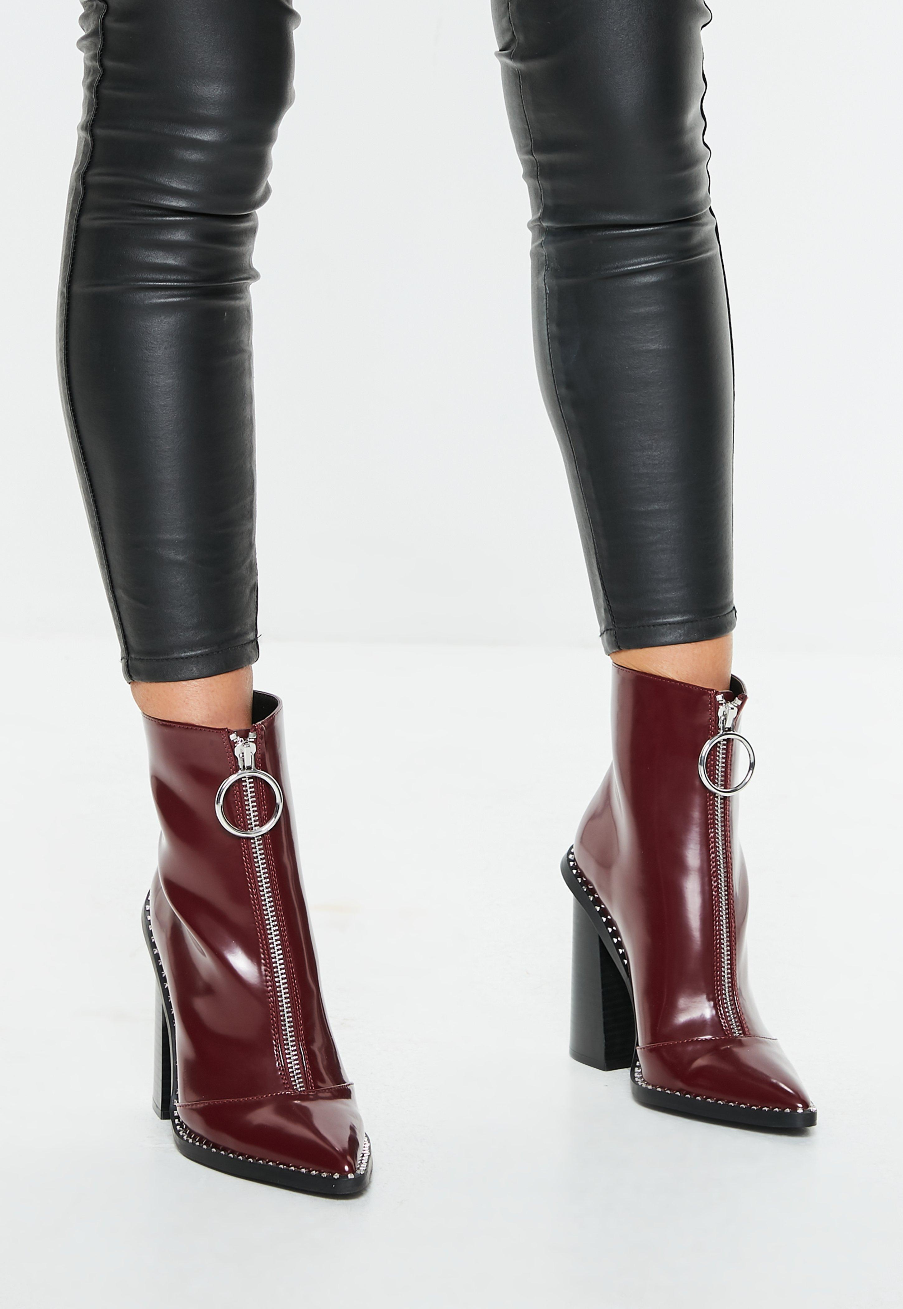 aa5055fbef70 Lyst - Missguided Burgundy Zip Front Ring Pull Boots in Purple
