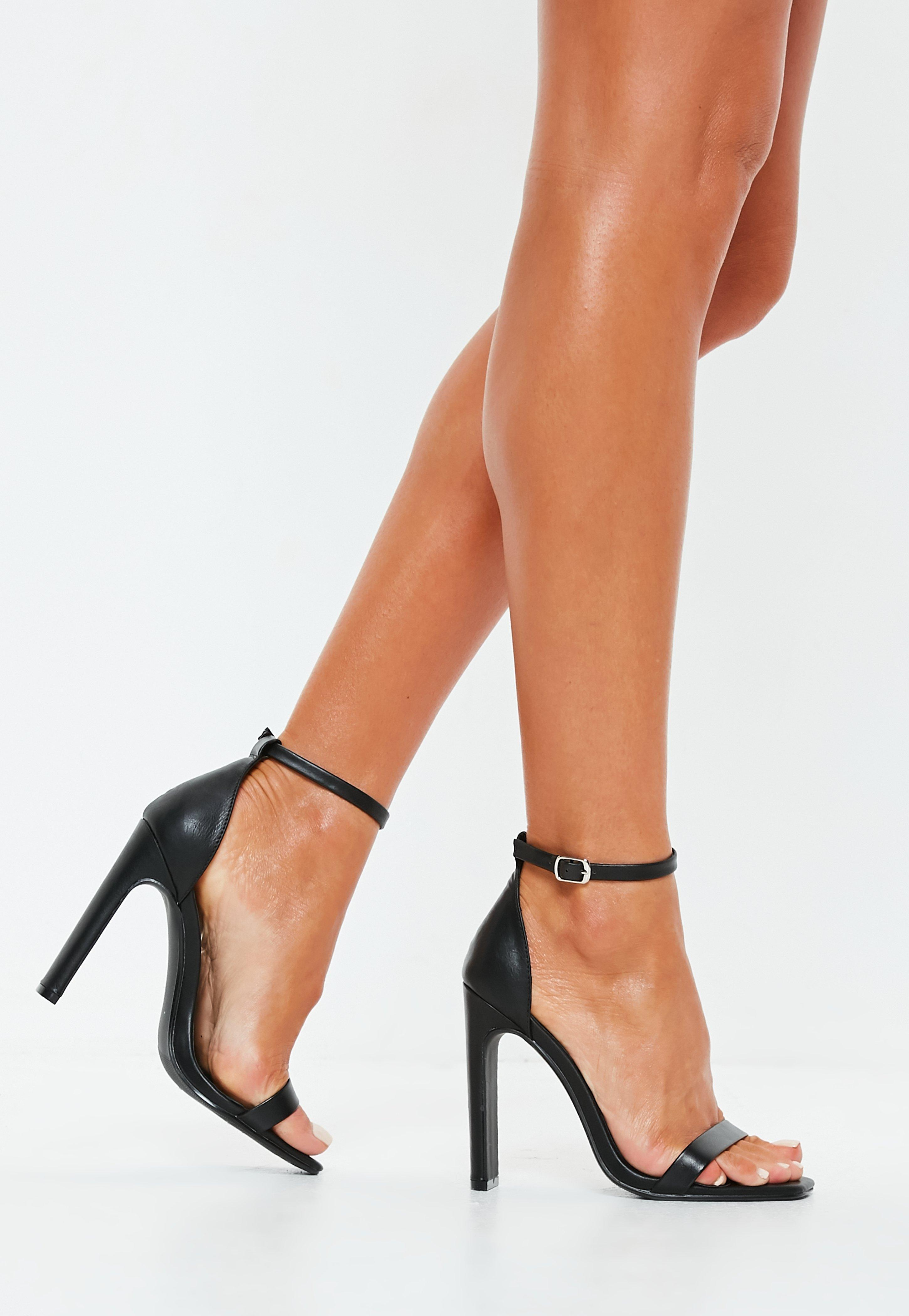 c344f09416 Lyst - Missguided Black Faux Leather Barely There Square Toe Heels ...