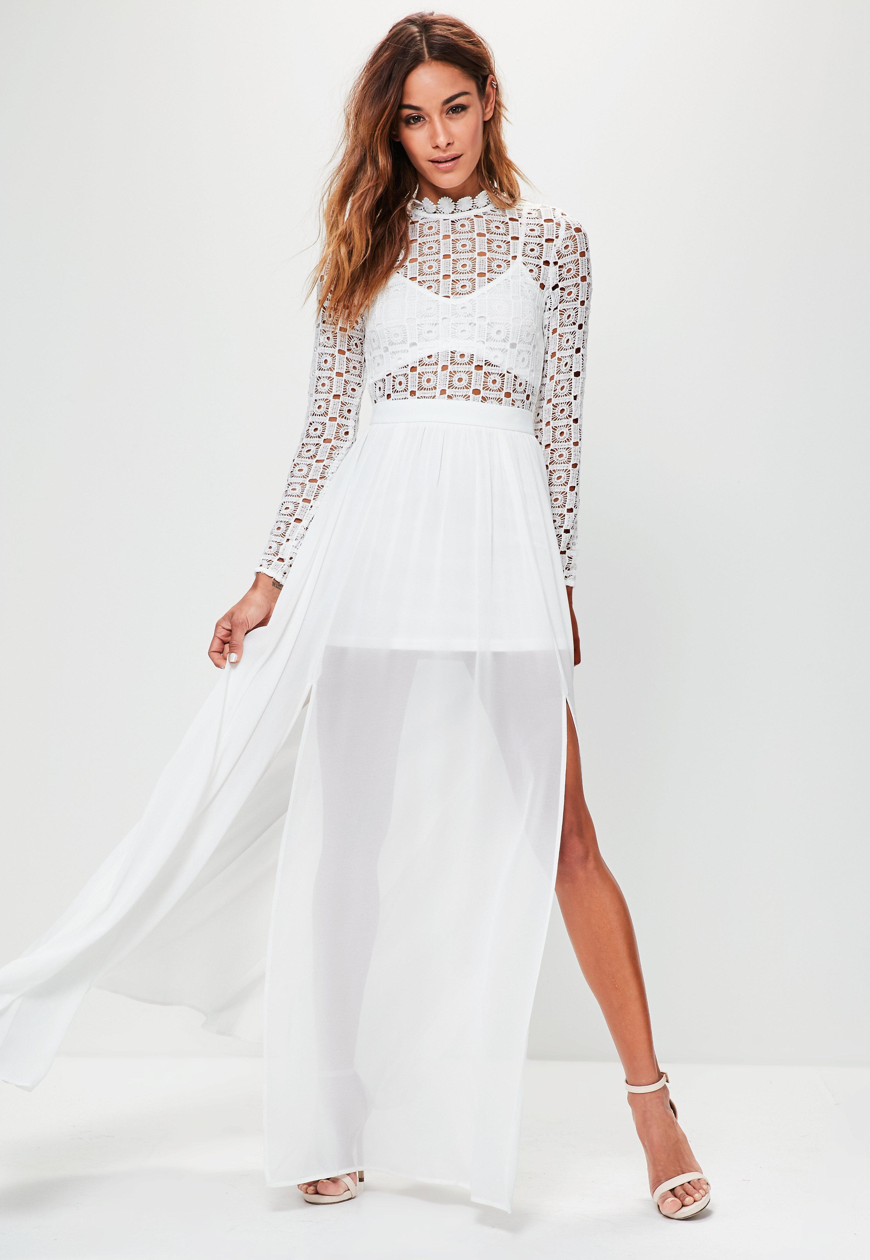 86aa5ce1dbe4 Lyst - Missguided White Crochet High Neck Long Sleeve Maxi Dress in ...