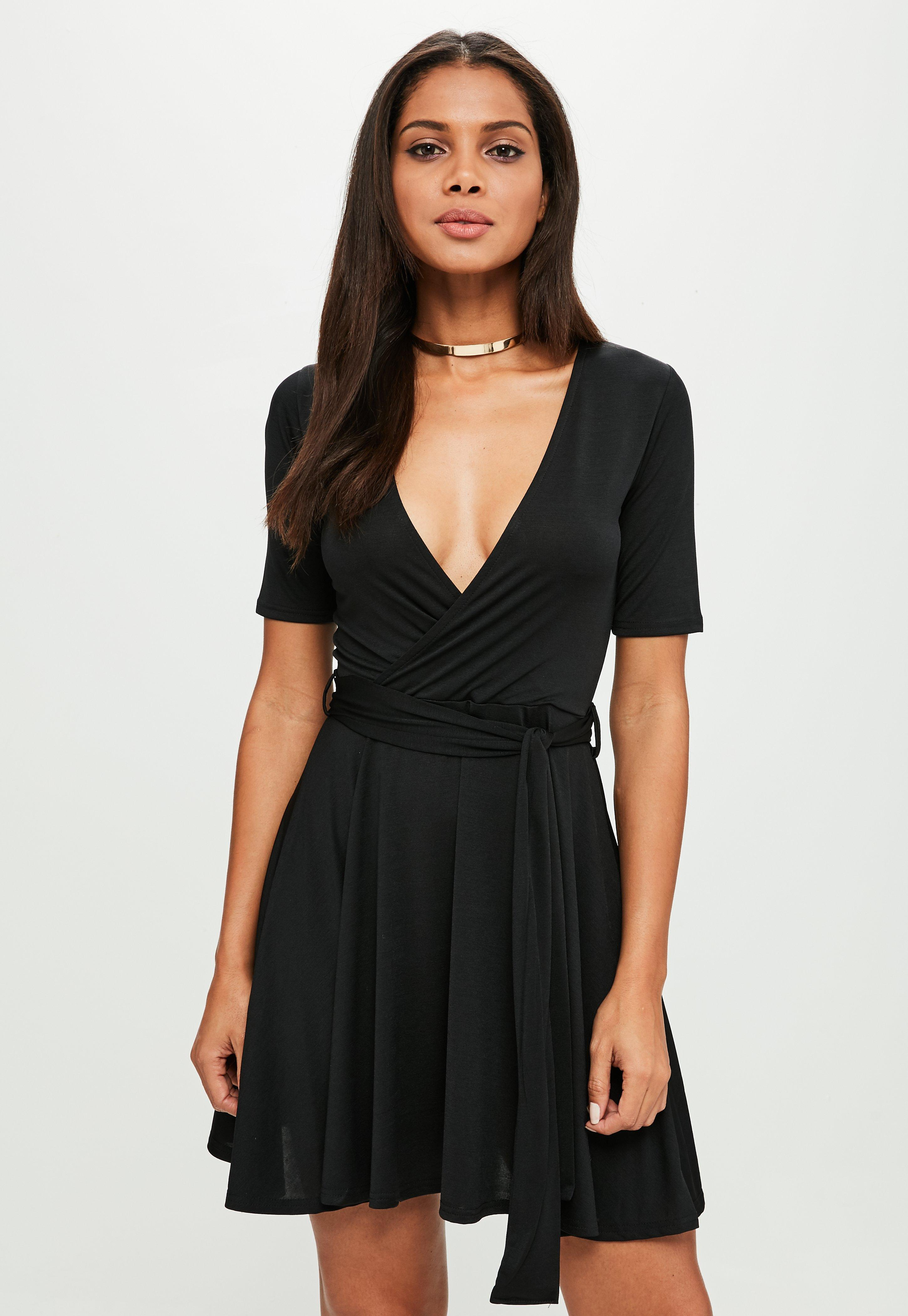 ca6946f8c1 Lyst - Missguided Black Tie Wrap Skater Skirt Dress in Black