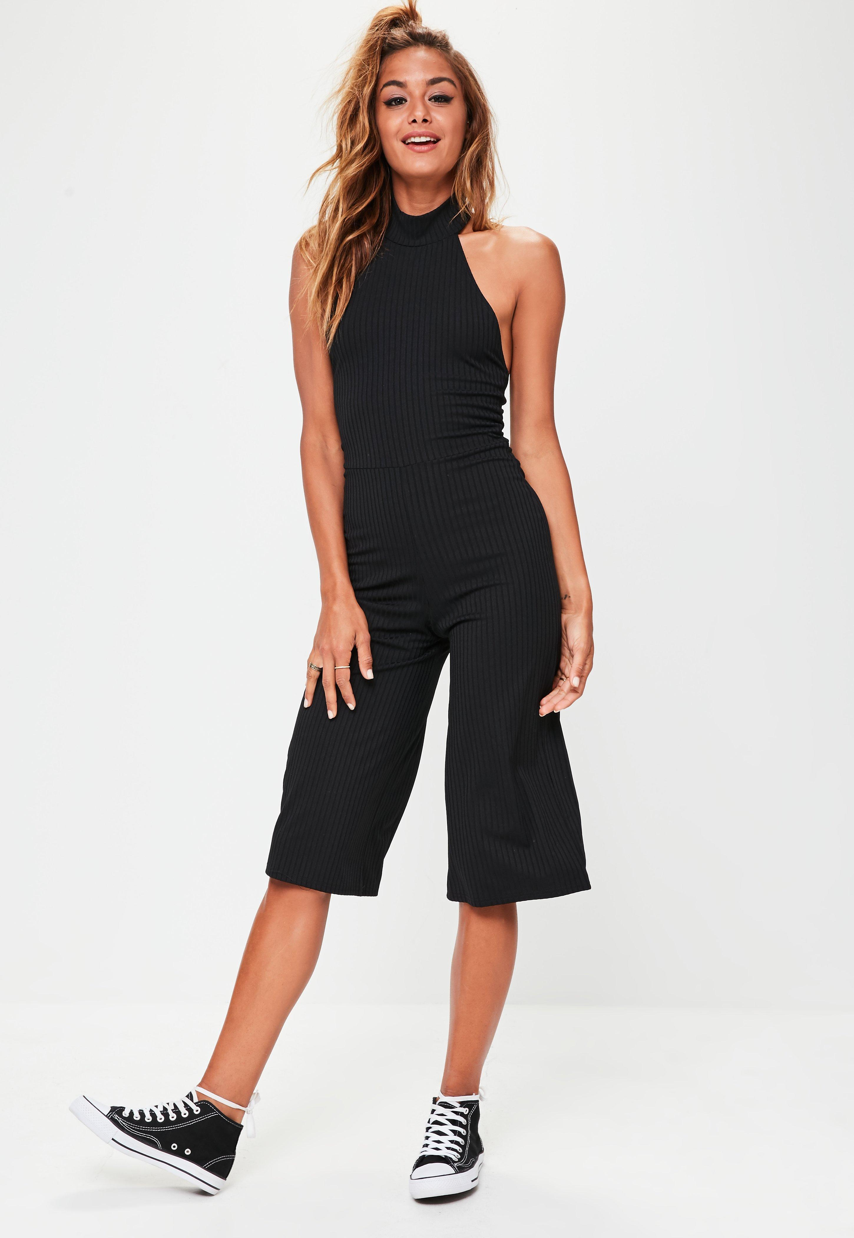 6d61dca7f7b4 Missguided Black High Neck Ribbed Culotte Jumpsuit in Black - Lyst