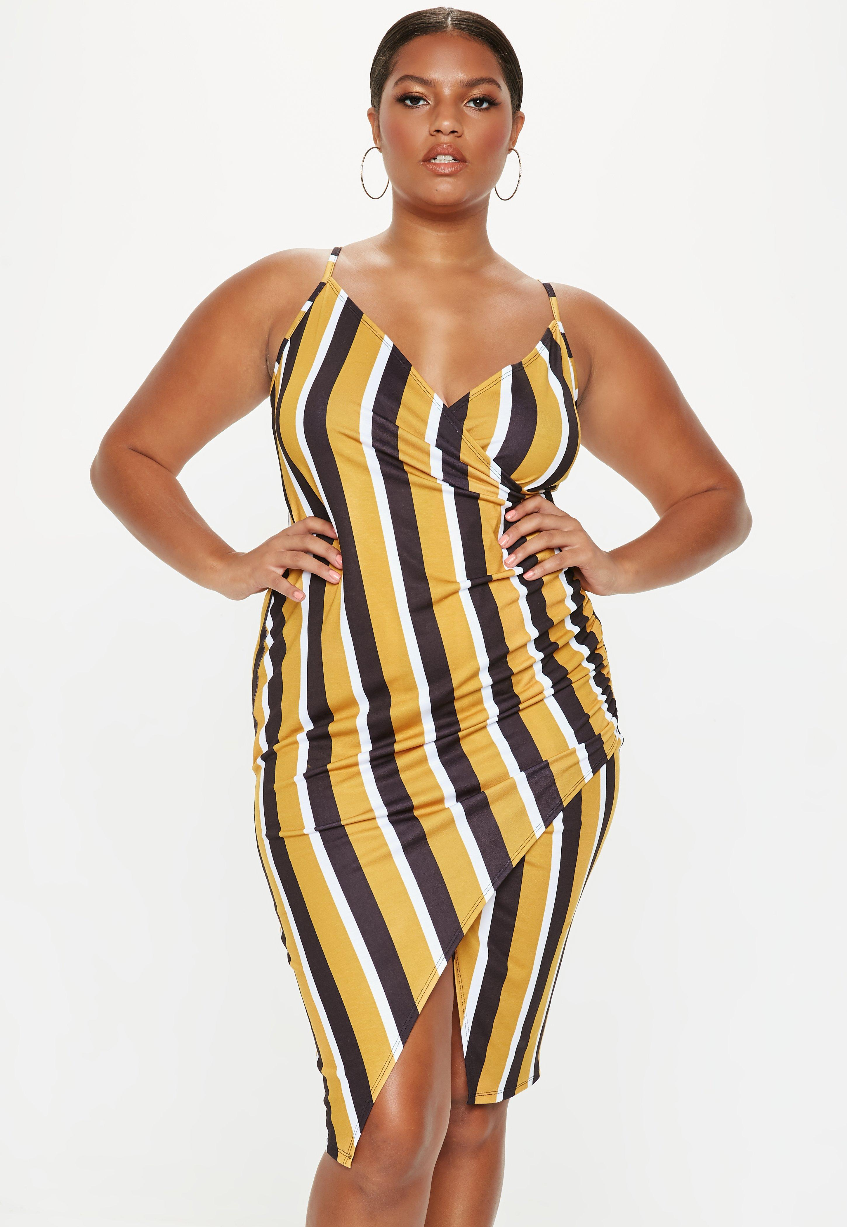 6ae61b92856 Missguided. Women s Plus Size Mustard Stripe Strappy Ruched Dress