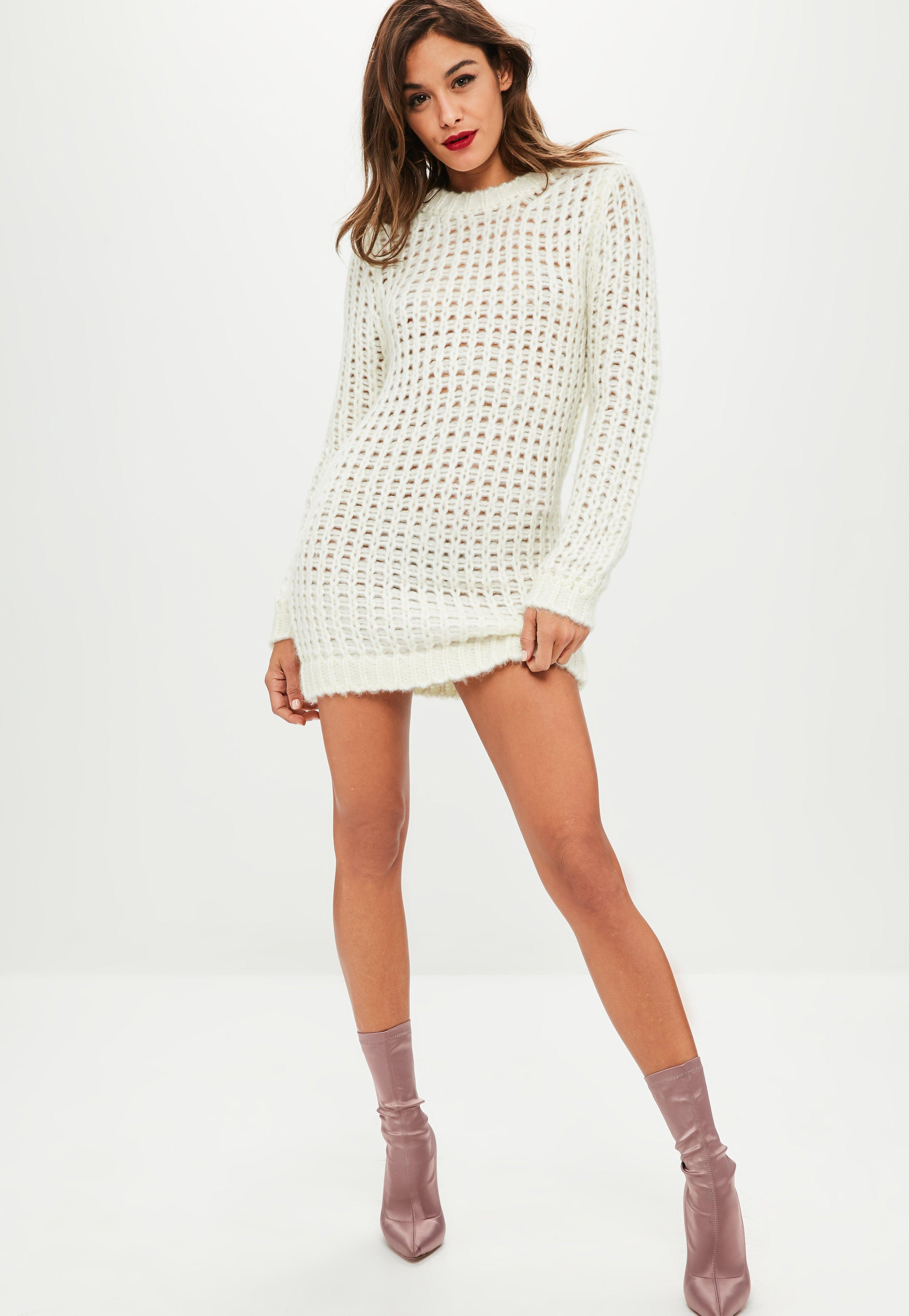 759d418ea4 Missguided Ivory Chunky Knit Oversized Jumper Dress in White - Lyst