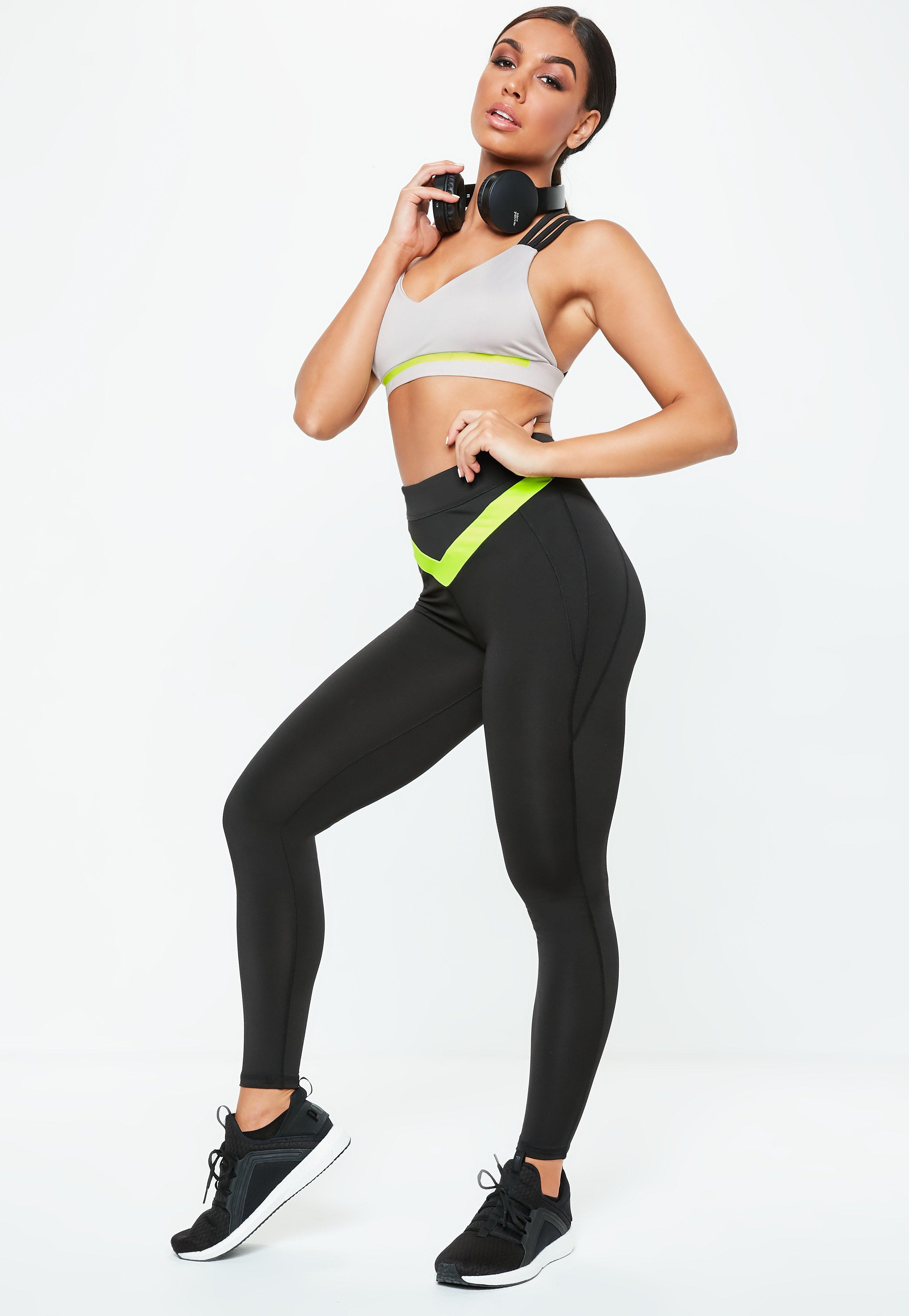 b7dca062c5d47 Lyst - Missguided Active Black & Lime Stripe Full Length Gym ...