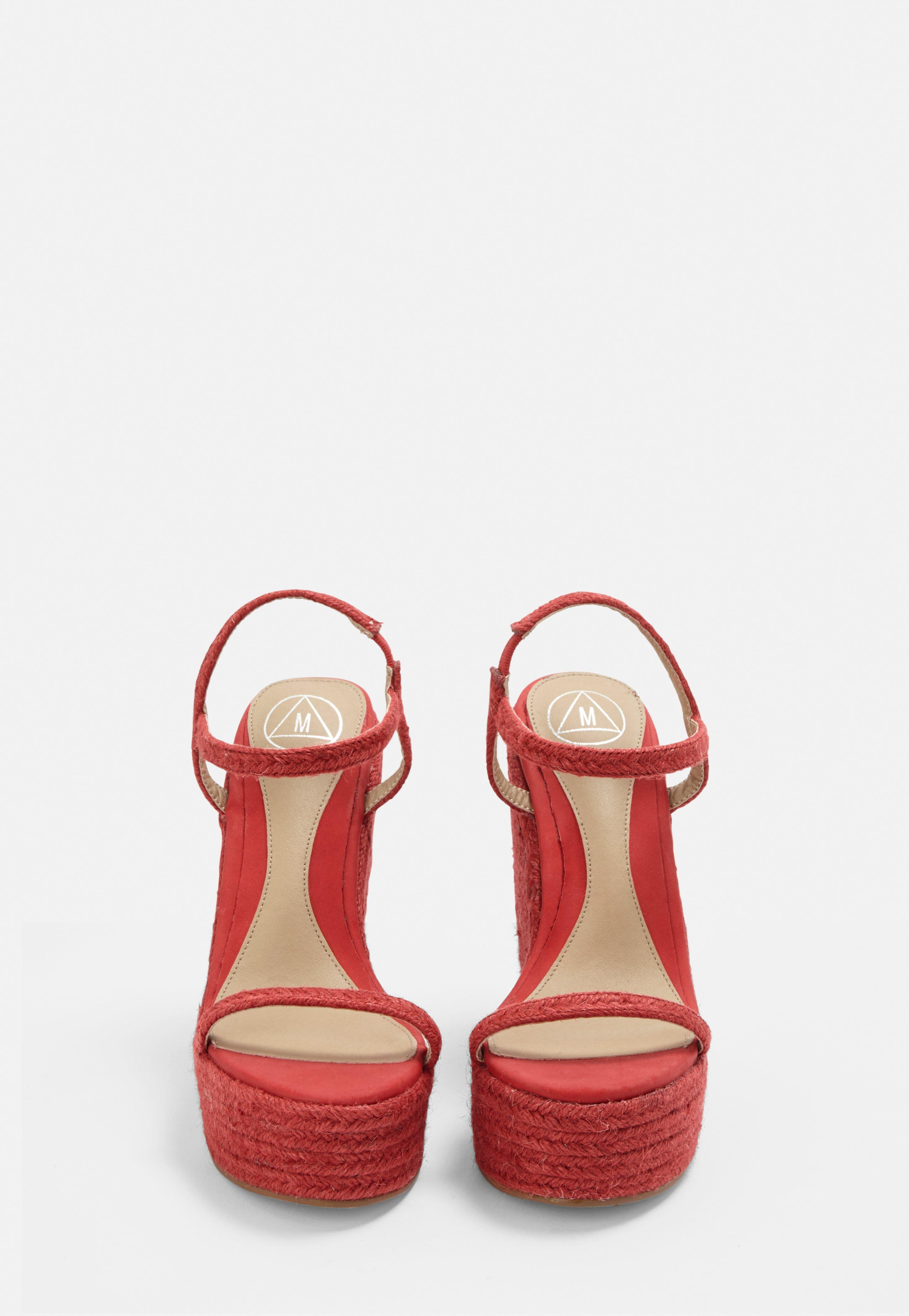 2bc843a40e78 Missguided - Red Two Strap Jute Wedges - Lyst. View fullscreen