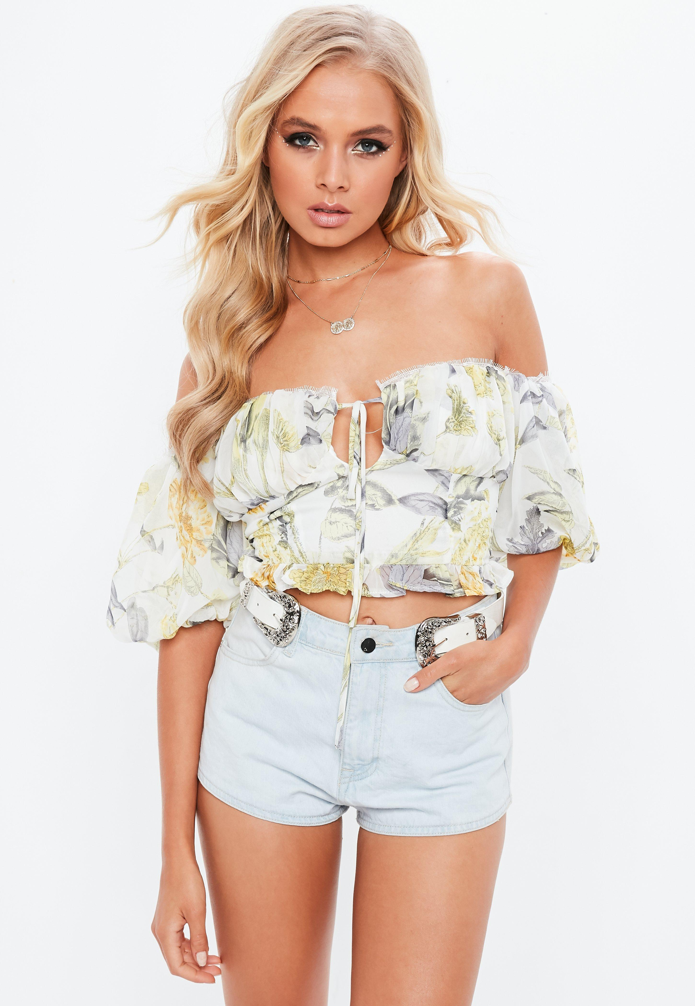 60d7d0020240bd Lyst - Missguided White Floral Milkmaid Bardot Top in White