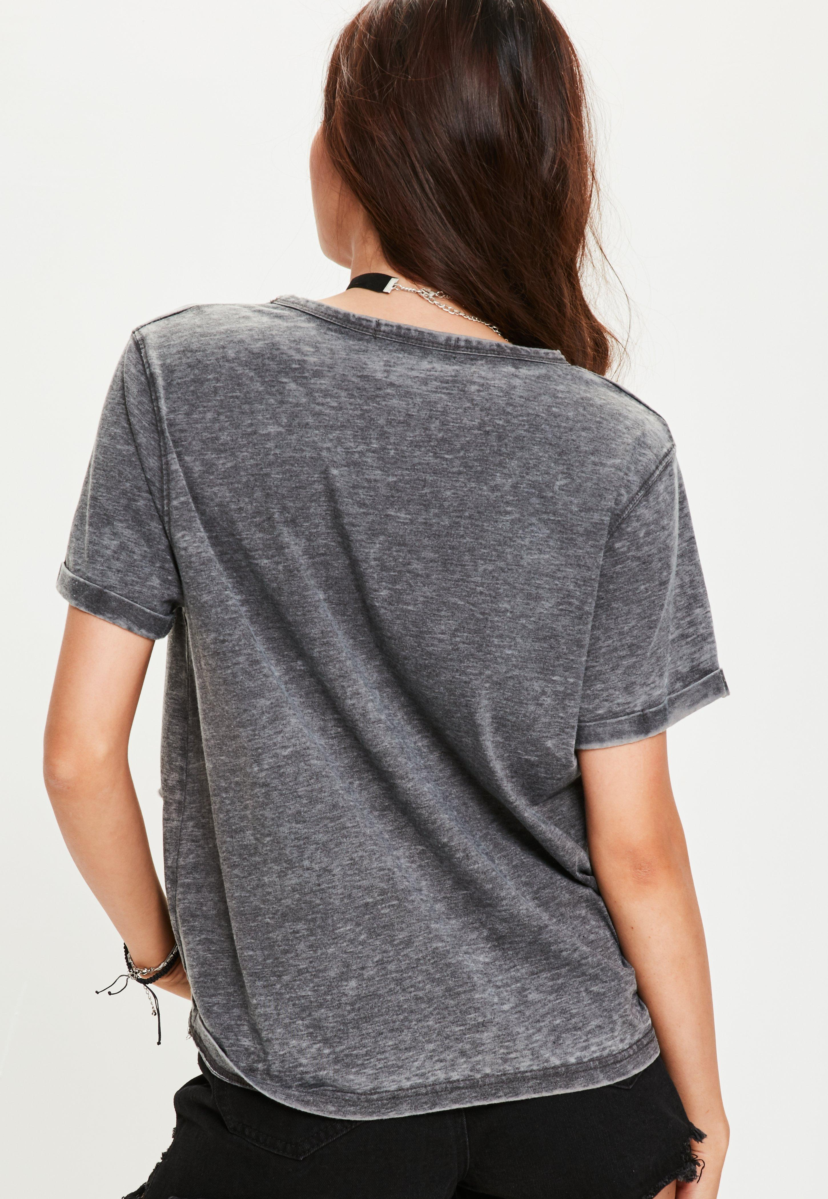 43f2855c466 Lyst - Missguided Grey Burnout Choker Distressed T-shirt in Gray