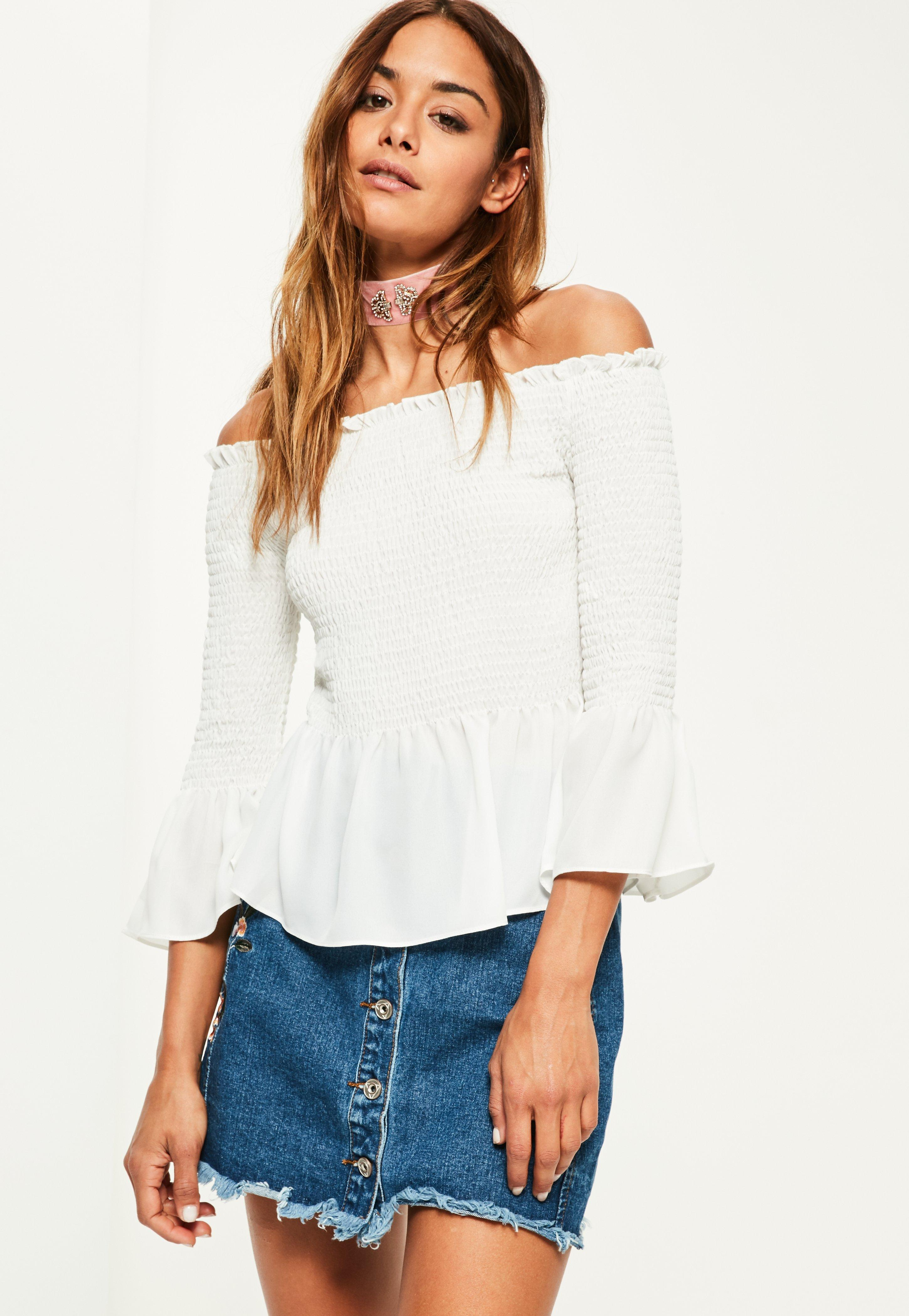 642e1cedea0bd Lyst - Missguided White Shirred Short Sleeve Bardot Frill Blouse in ...