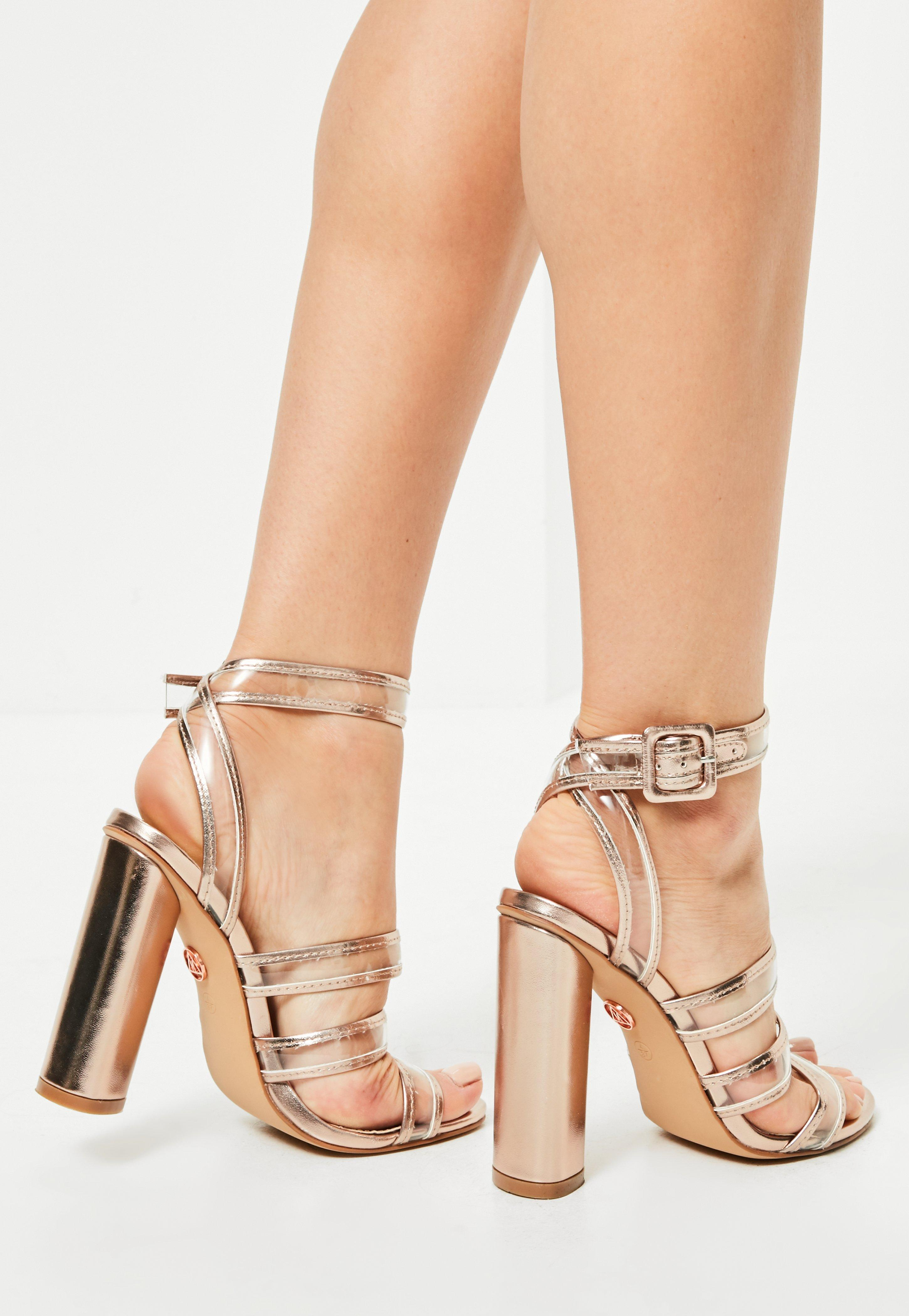 e6e39af12ee Lyst - Missguided Rose Gold Clear Multi Strap Block Heeled Sandals ...