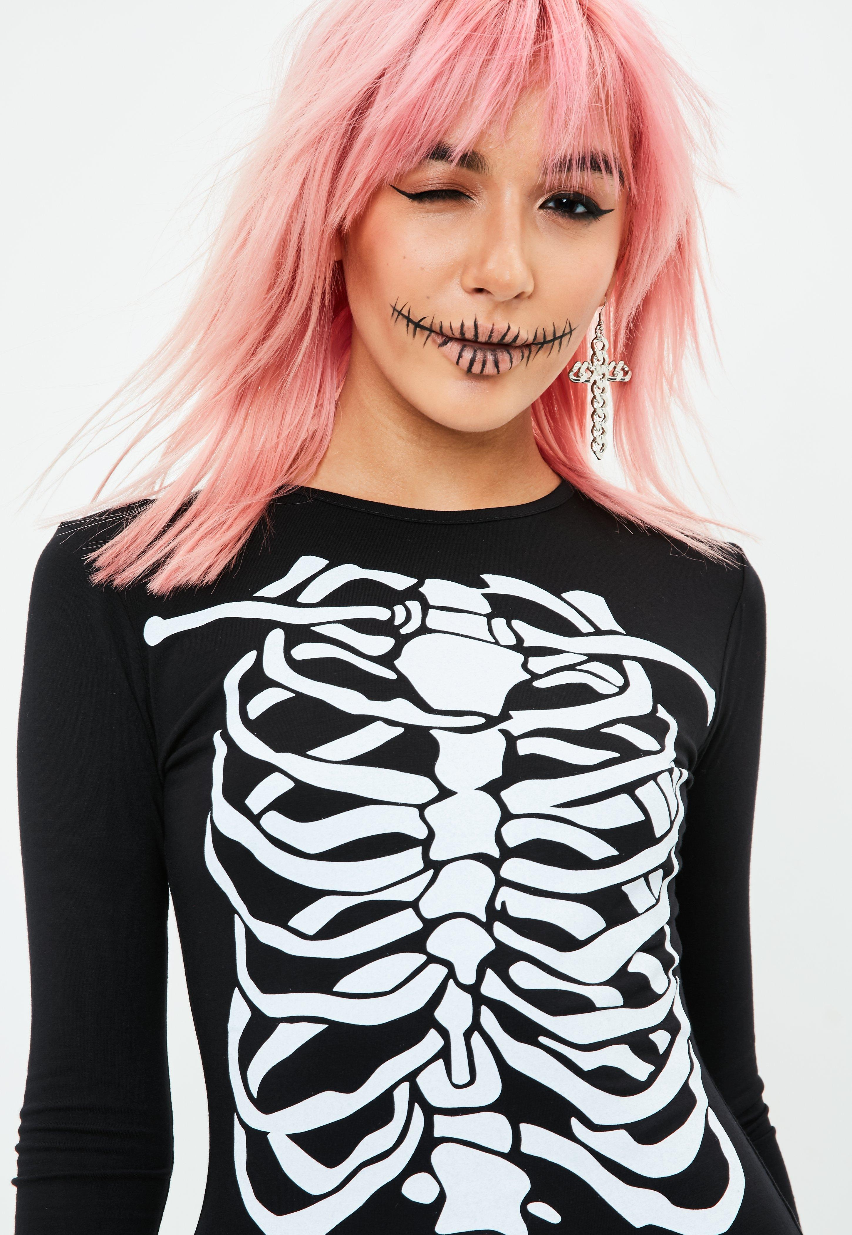 missguided halloween black skeleton bodycon dress in black - lyst