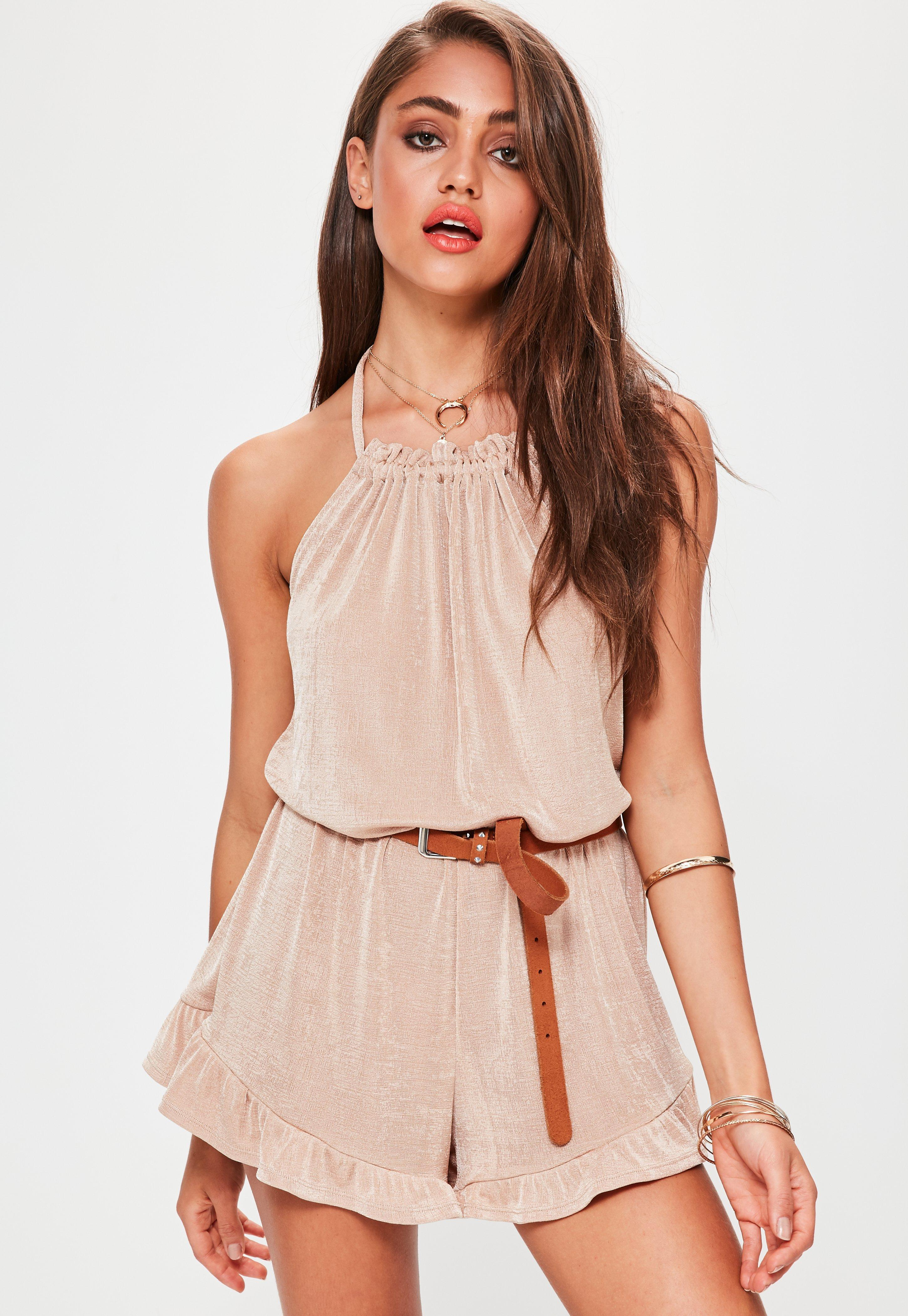 b256b9ec6d Missguided Nude Gathered Neck Halterneck Frill Short Playsuit in ...