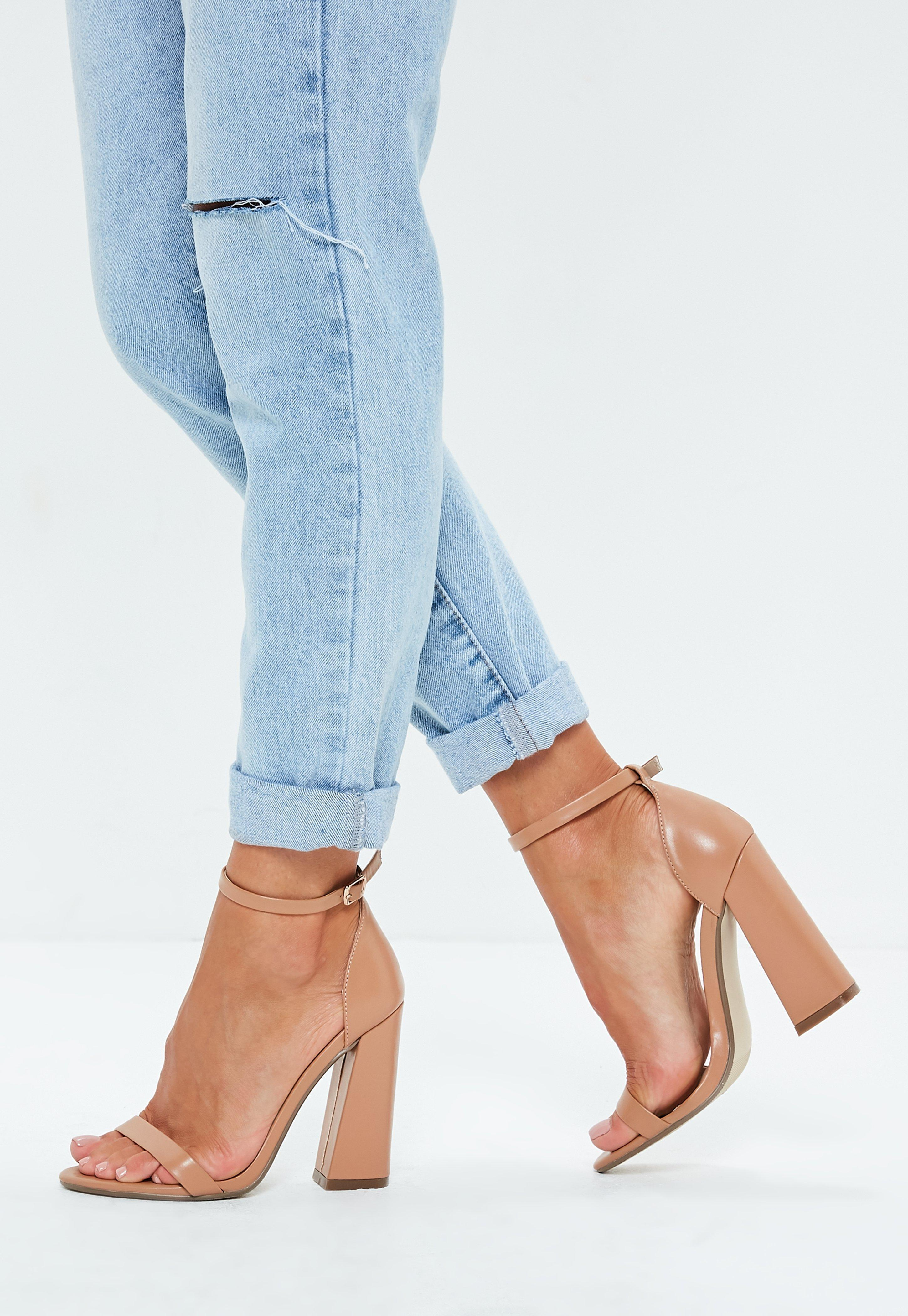 0758ee9aa33 Missguided Taupe Barely There Faux Leather Flare Heels in Blue - Lyst