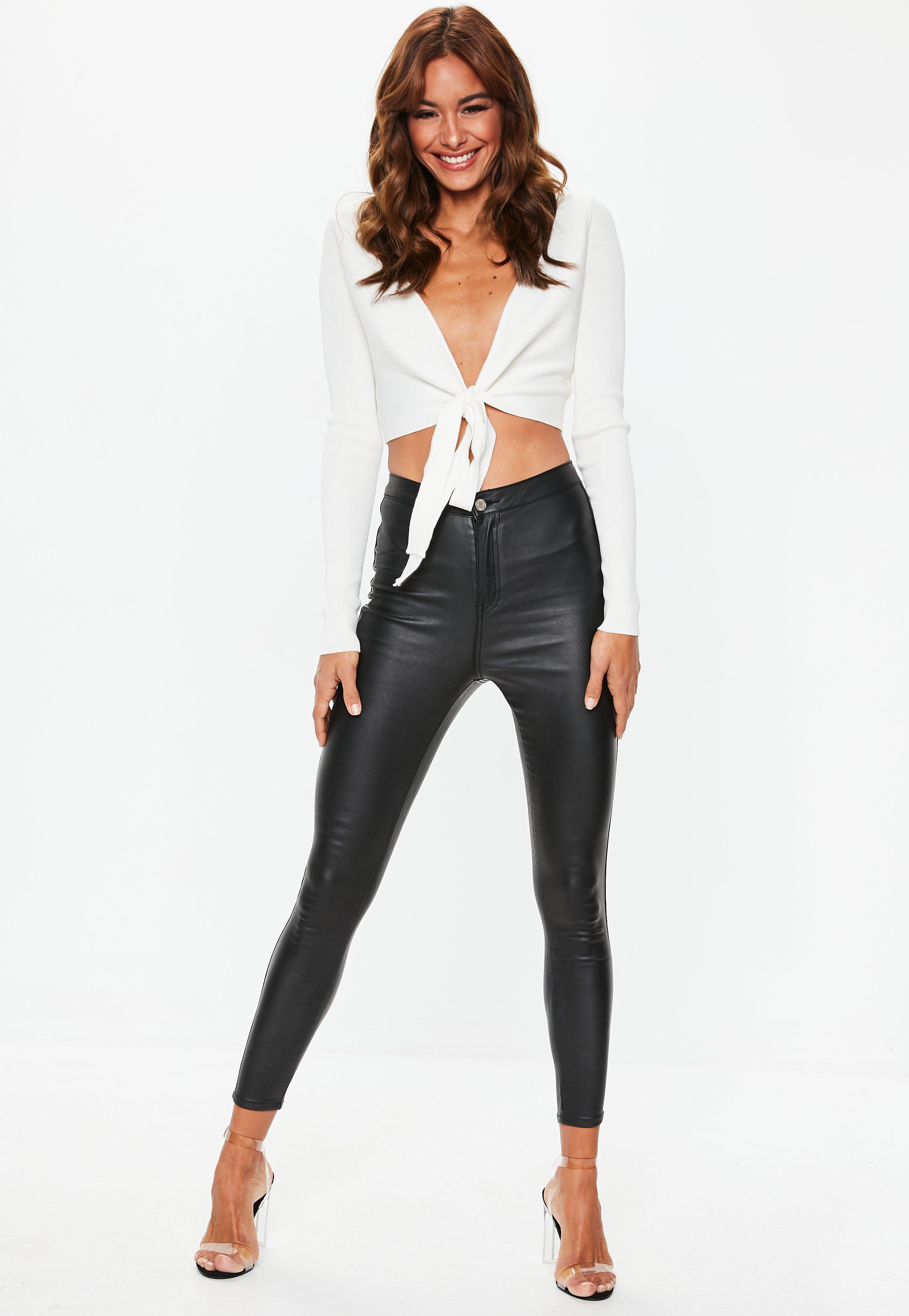 77cda102ffdbb Missguided - Multicolor Cream Tie Front Long Sleeve Knitted Crop Top - Lyst.  View fullscreen