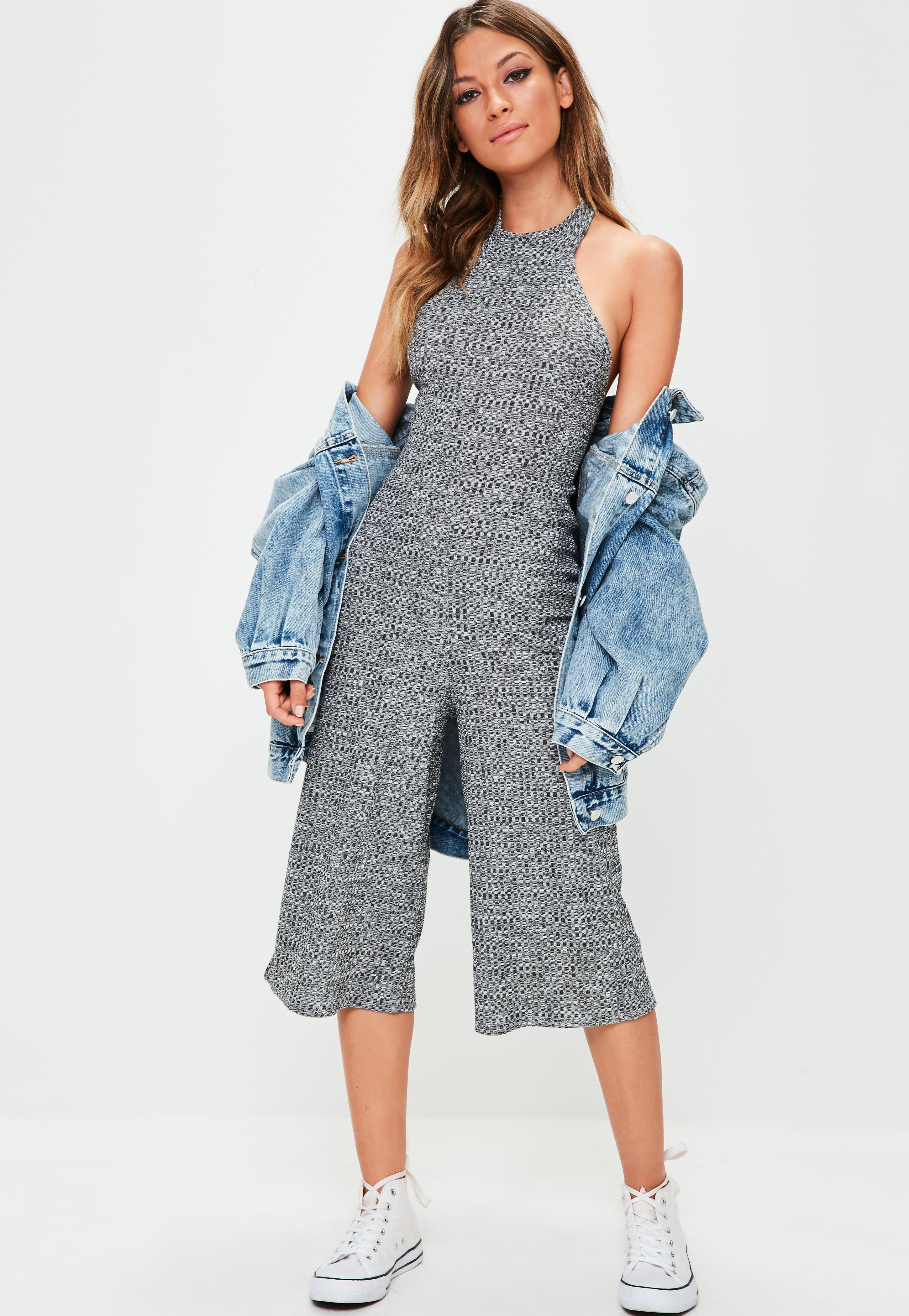 45540fc75f8 Lyst - Missguided Grey Highneck Ribbed Culottes in Gray
