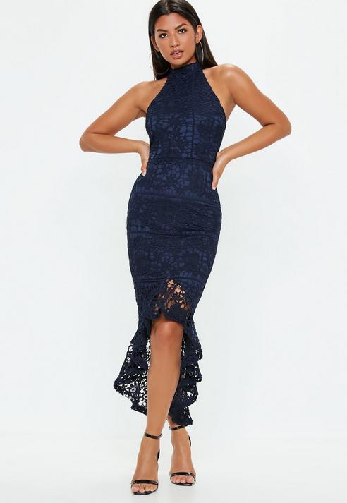 1c7a0eda0d40 Missguided Navy Lace High Neck Fishtail Midi Dress in Blue - Save ...