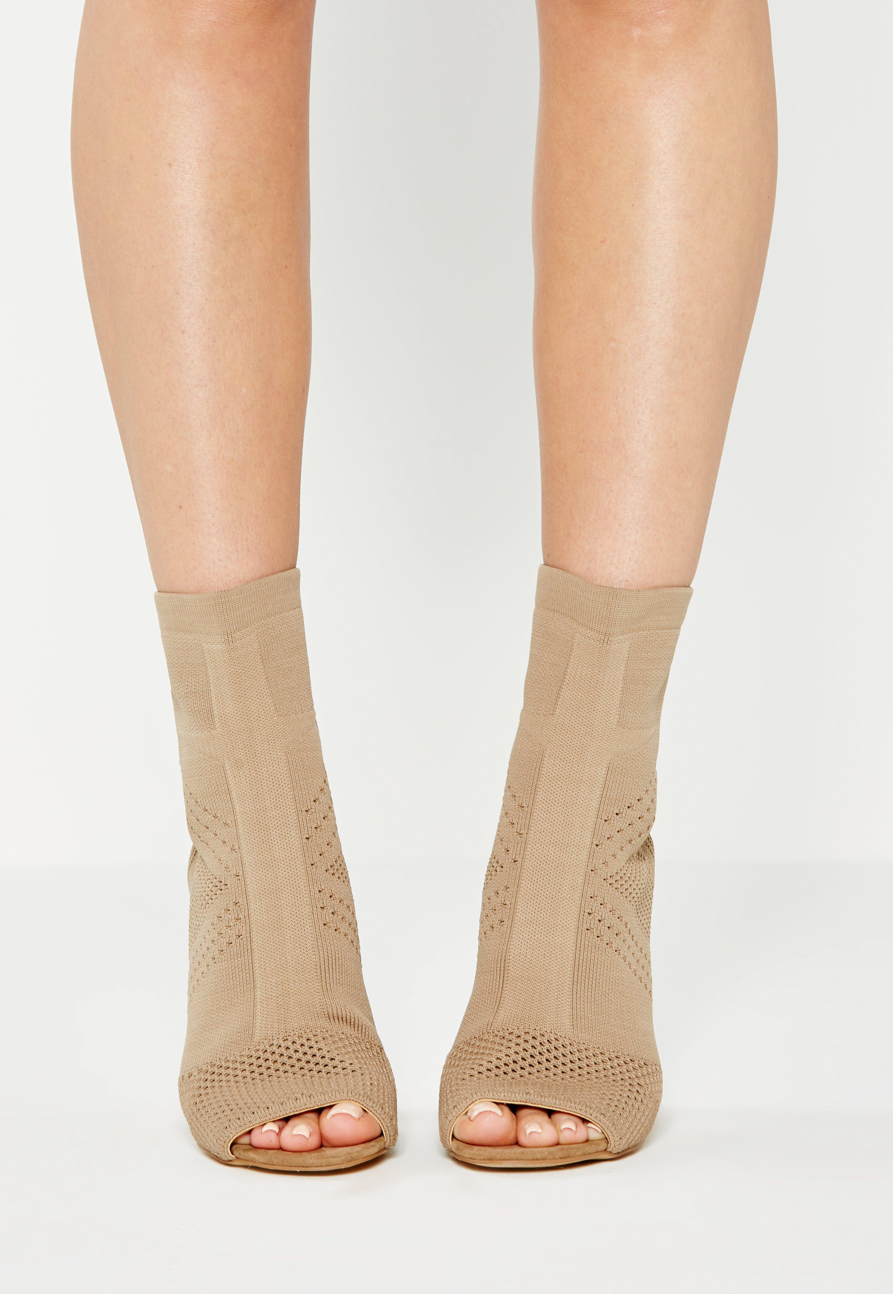 Lyst - Missguided Nude Knitted Peep Toe Ankle Boots in Natural b857bd074204