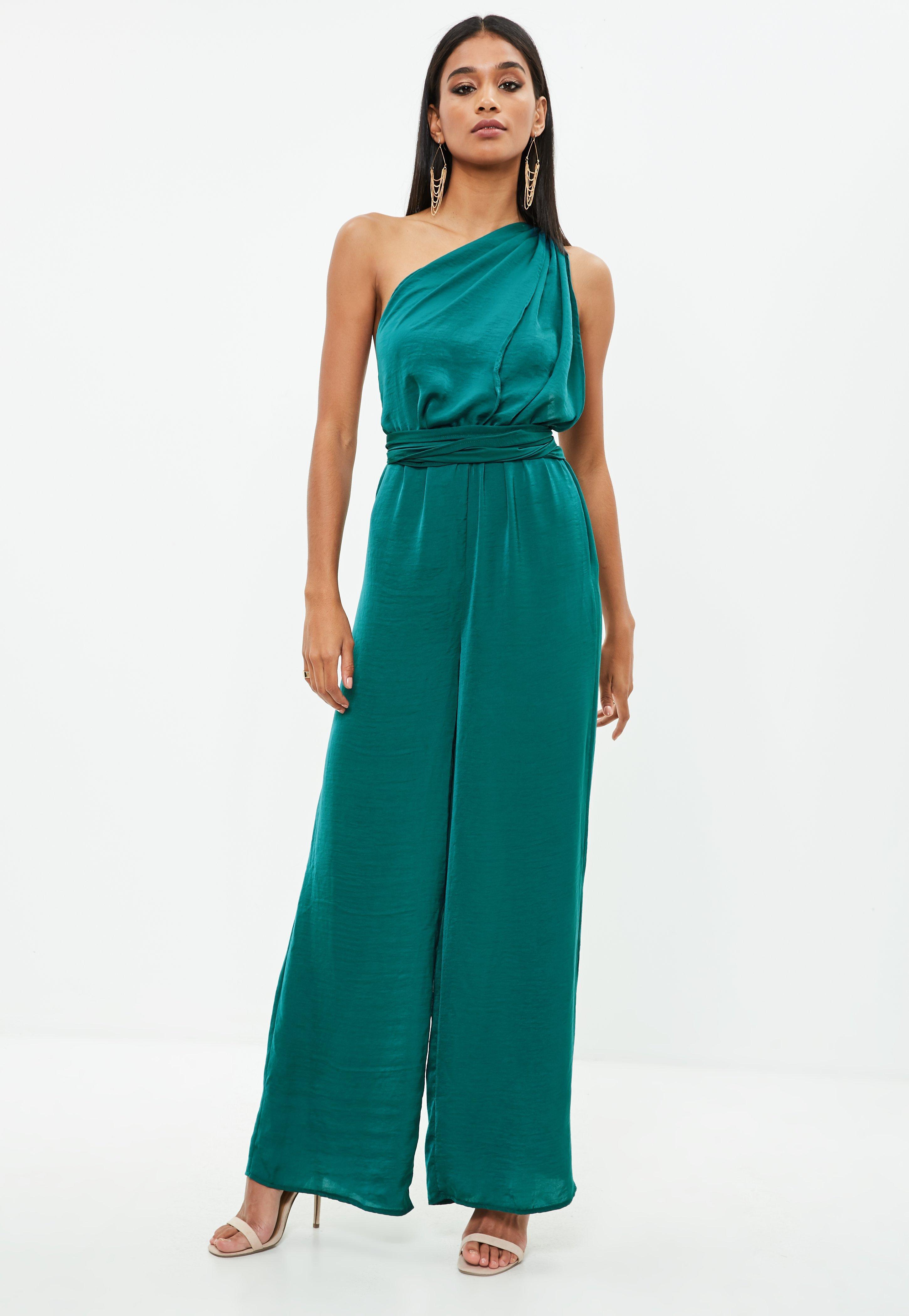 df3f3d0e89 Lyst - Missguided Green Satin Multi Way Wide Leg Jumpsuit in Green