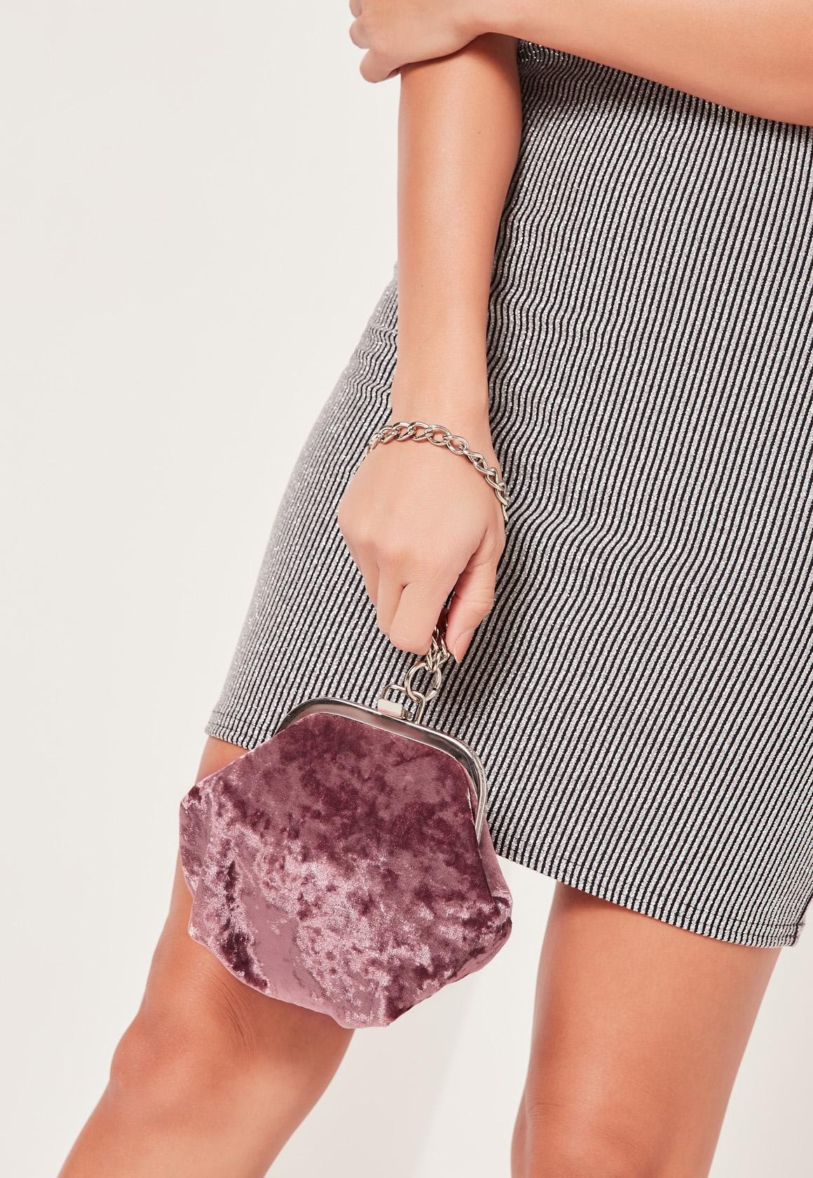 Missguided Pink Velvet Chain Handle Clutch Bag in Pink - Lyst 18aaca6d7ea15