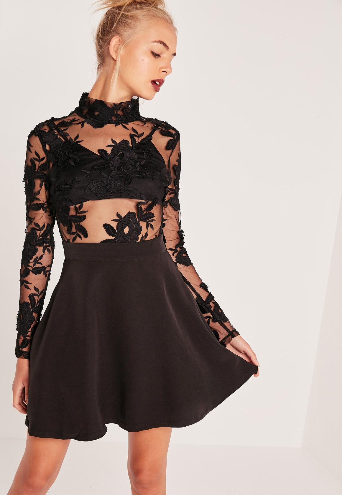 Long Sleeve Lace Skater Dress Dress Ideas