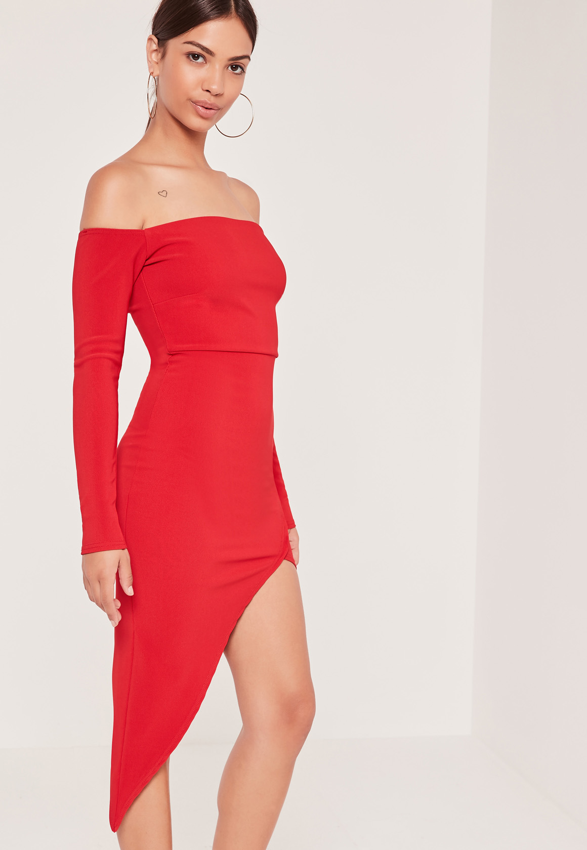 Missguided Ribbed Bardot Asymmetric Wrap Dress Red in Red ...