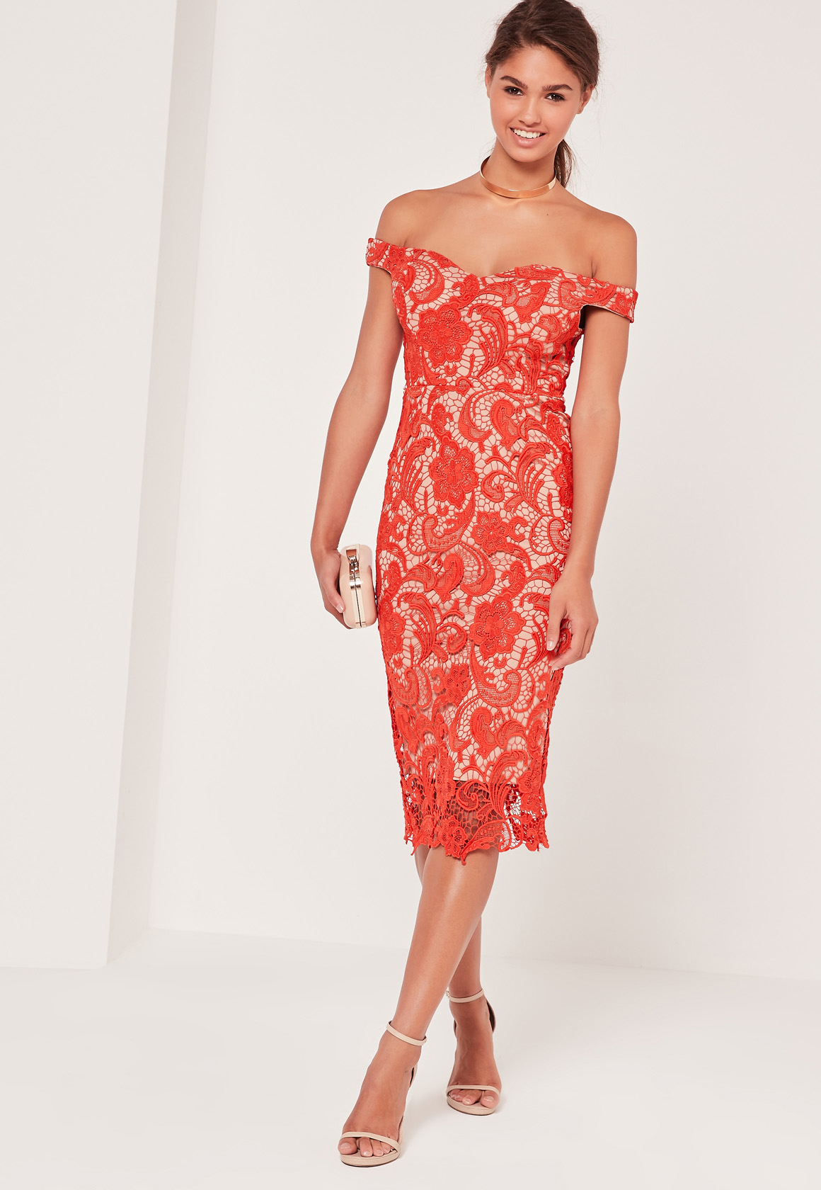 Missguided Bardot Lace Midi Dress Red in Red | Lyst