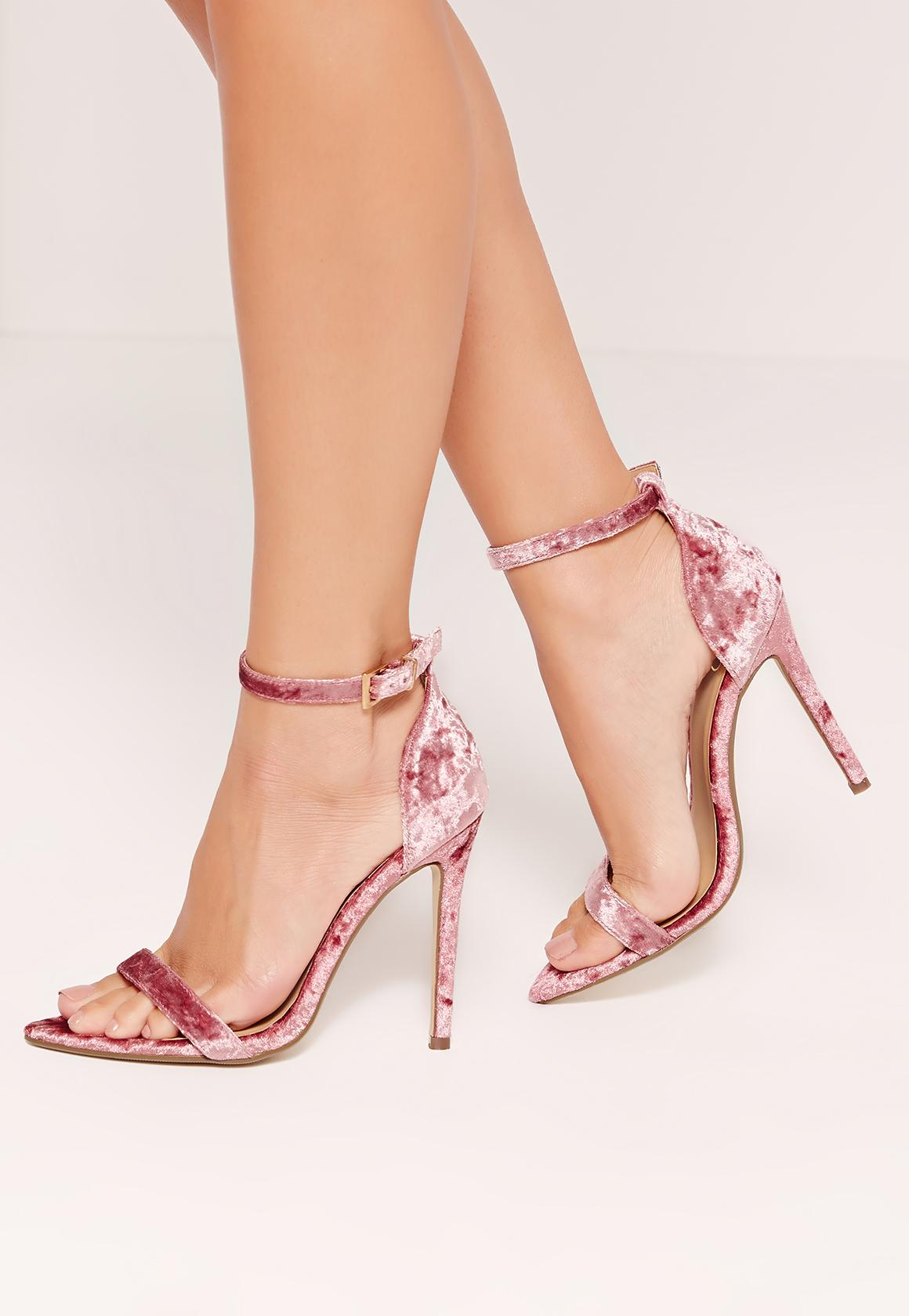 Missguided Pink Velvet Rounded Strap Barely There Heels in ...