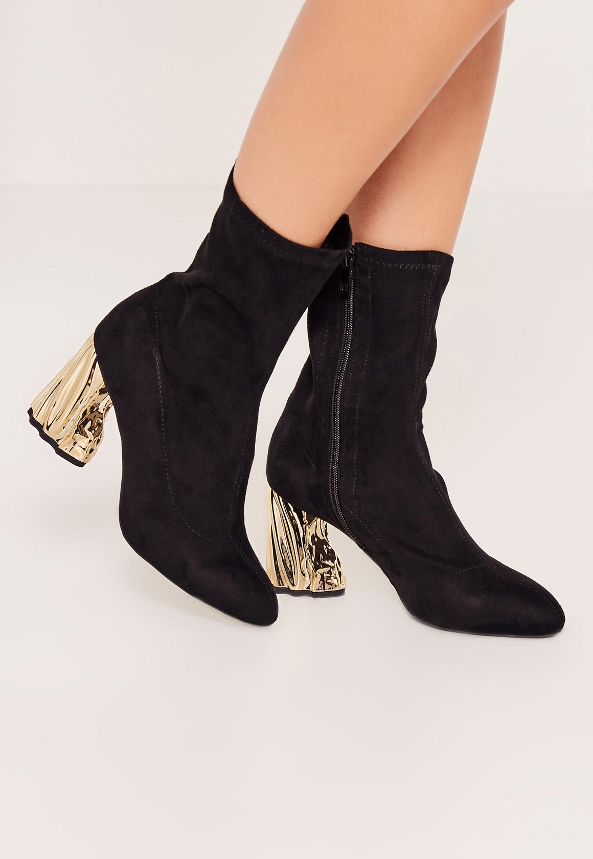 Lyst Missguided Gold Faux Suede Crushed Heel Sock Boots