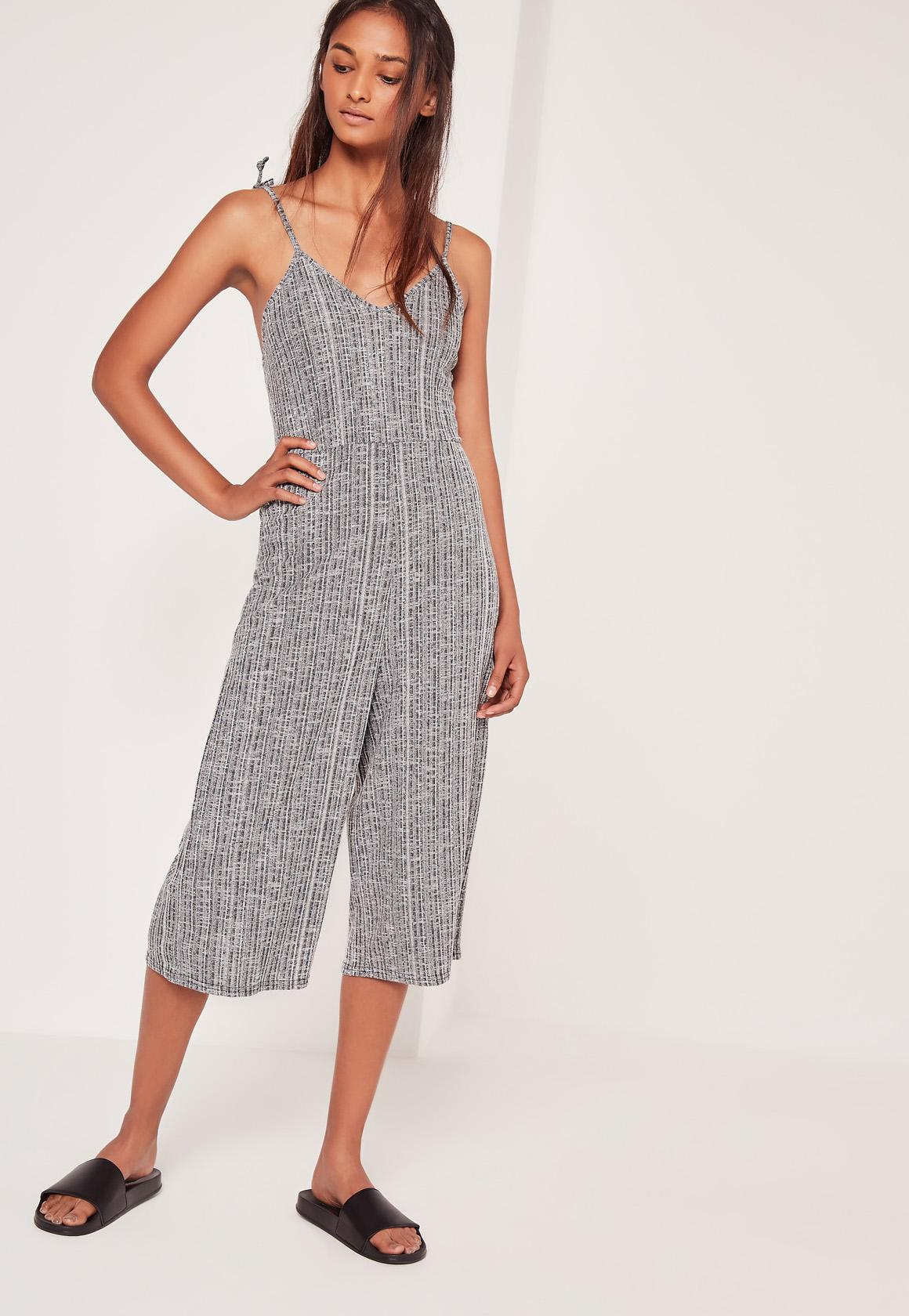 f07be1a119c1 Lyst - Missguided Ribbed Strappy Culotte Romper Grey in Gray