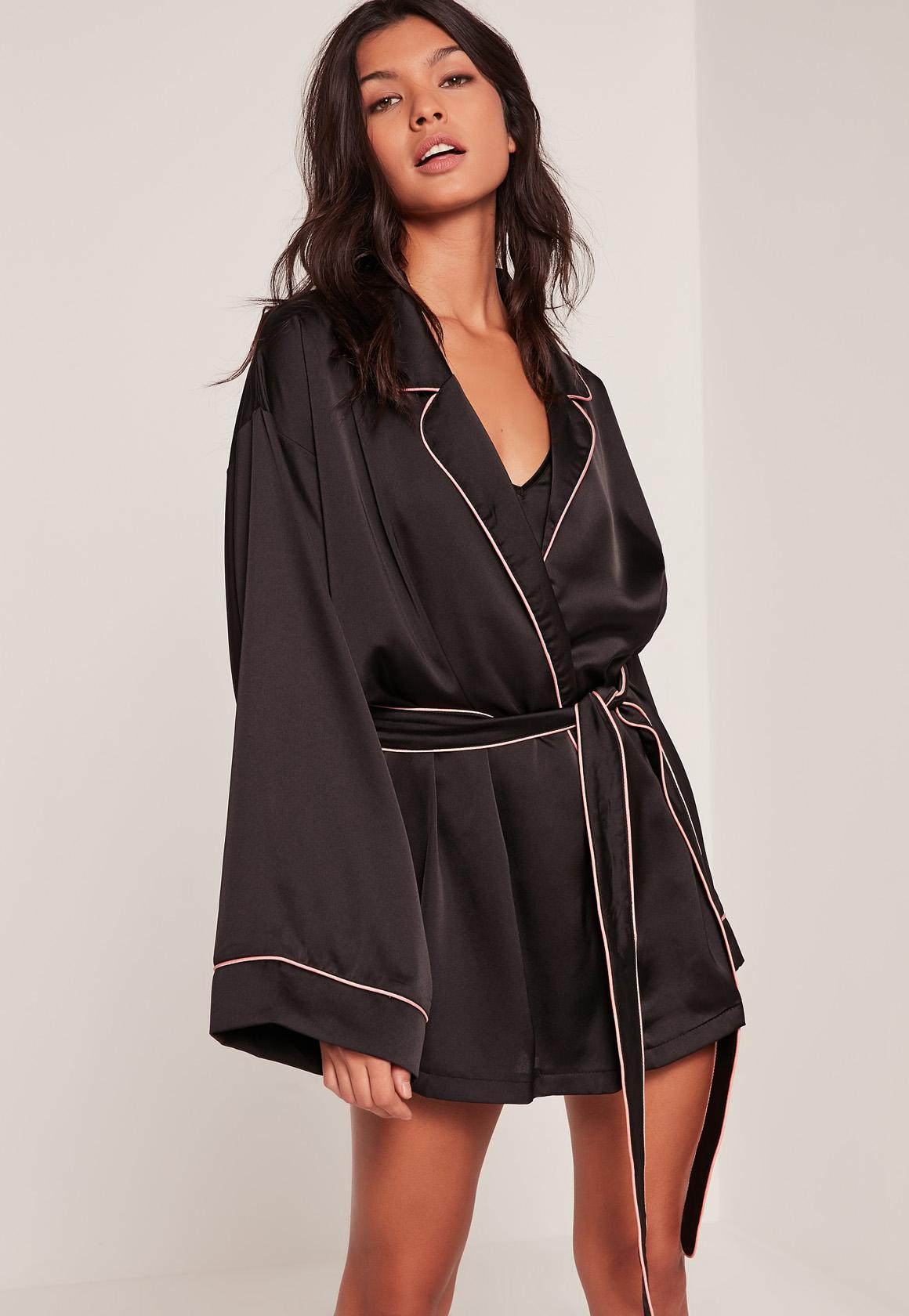 missguided black kimono piping detail silk robe in black lyst. Black Bedroom Furniture Sets. Home Design Ideas