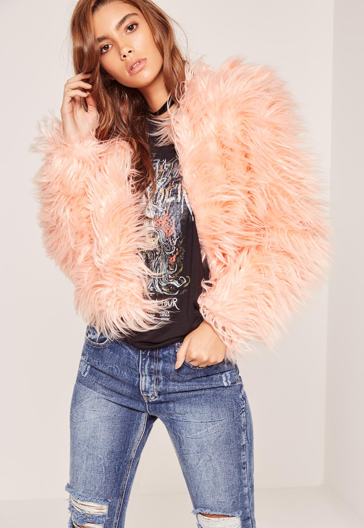 Missguided Pink Mongolian Faux Fur Coat In Pink Lyst