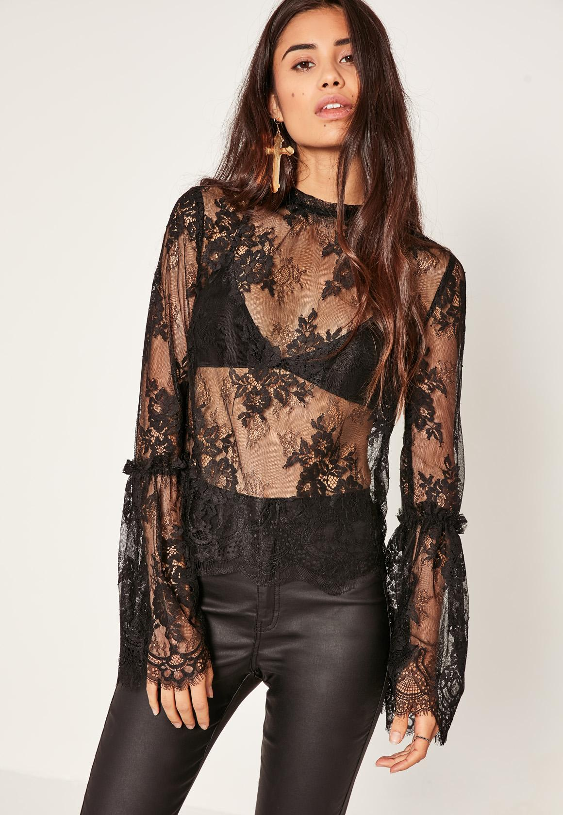 Missguided Black High Neck Lace Flare Sleeve Blouse In