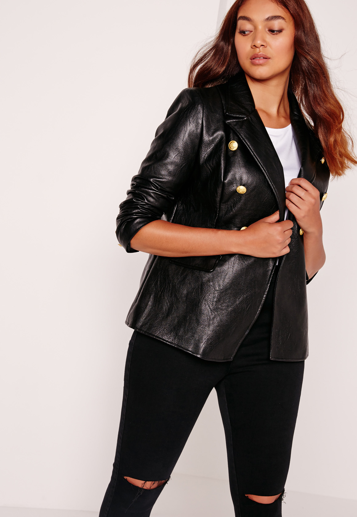 Missguided Plus Size Faux Leather Gold Button Blazer Black