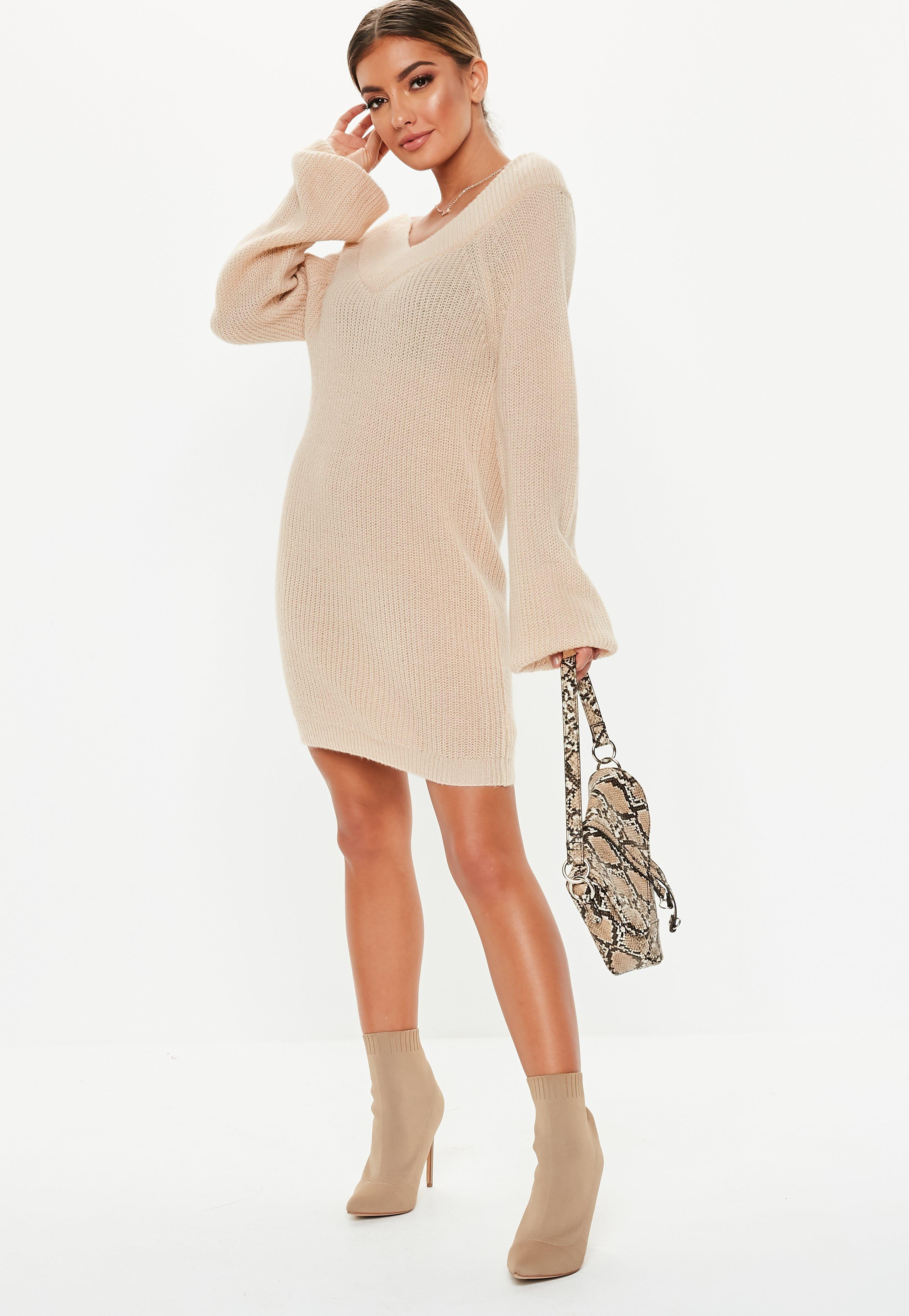 15a0d3dc83ce Lyst - Missguided Nude V Neck Off Shoulder Sweater Dress in Natural