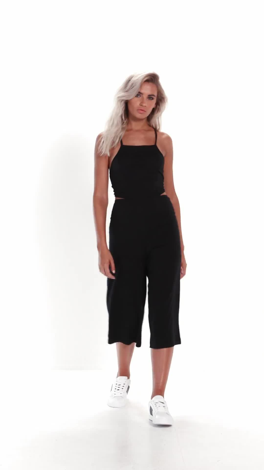 d6ded035919 Missguided - Black Jersey Tie Back Cut Out Culotte Jumpsuit - Lyst. View  fullscreen