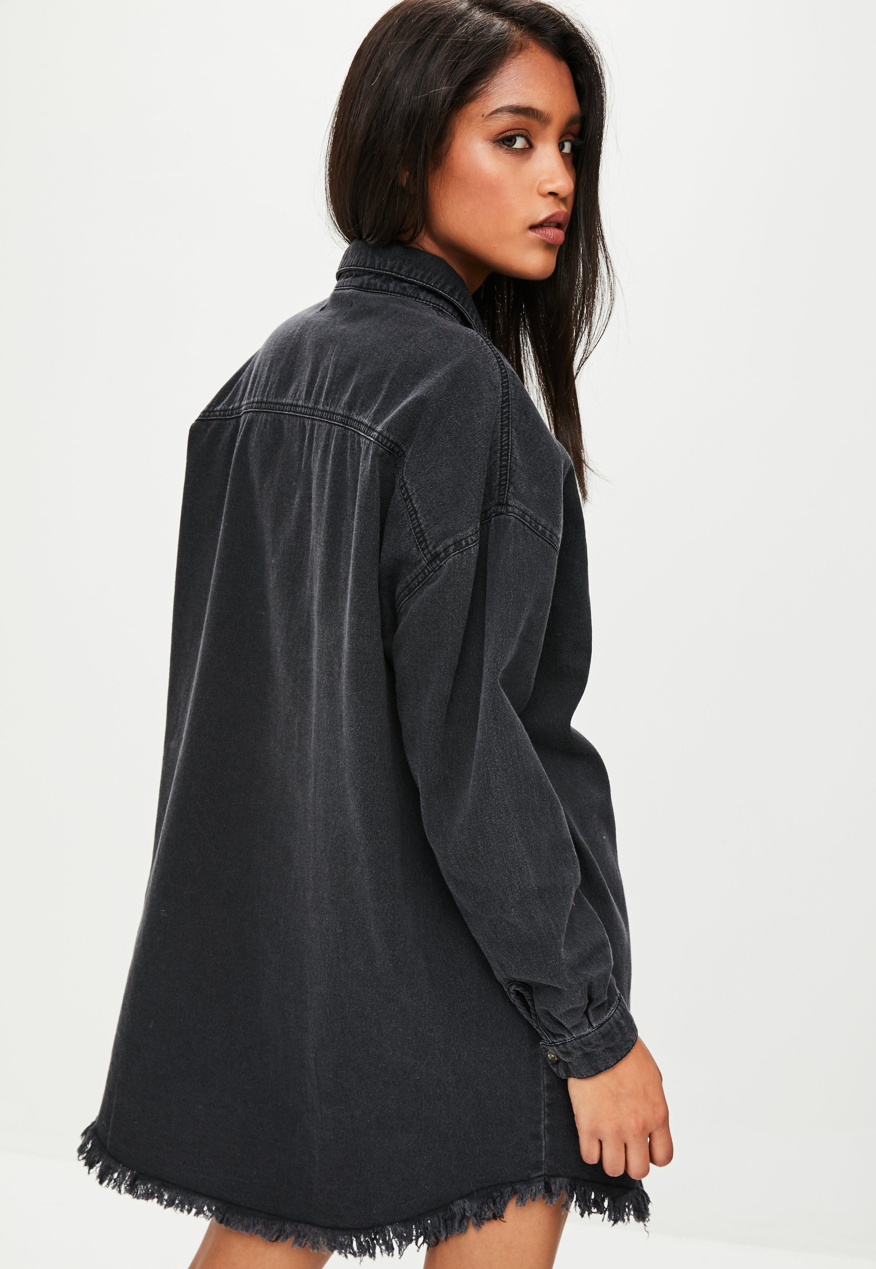 250dcf06ce Missguided Black Oversized Denim Shirt Dress in Black - Lyst