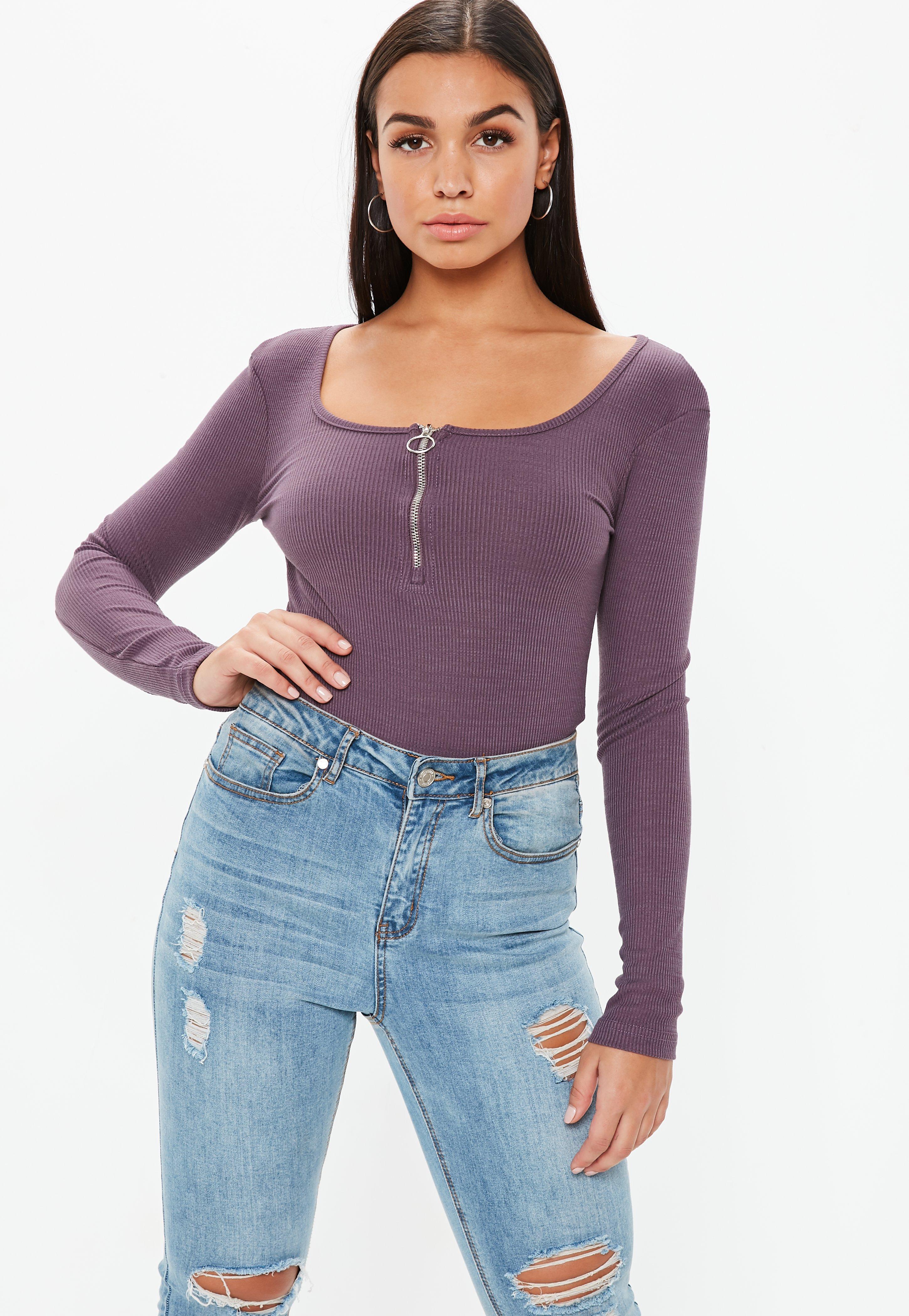 6f21003cc00 Lyst - Missguided Wine Zip Front Bodysuit in Purple