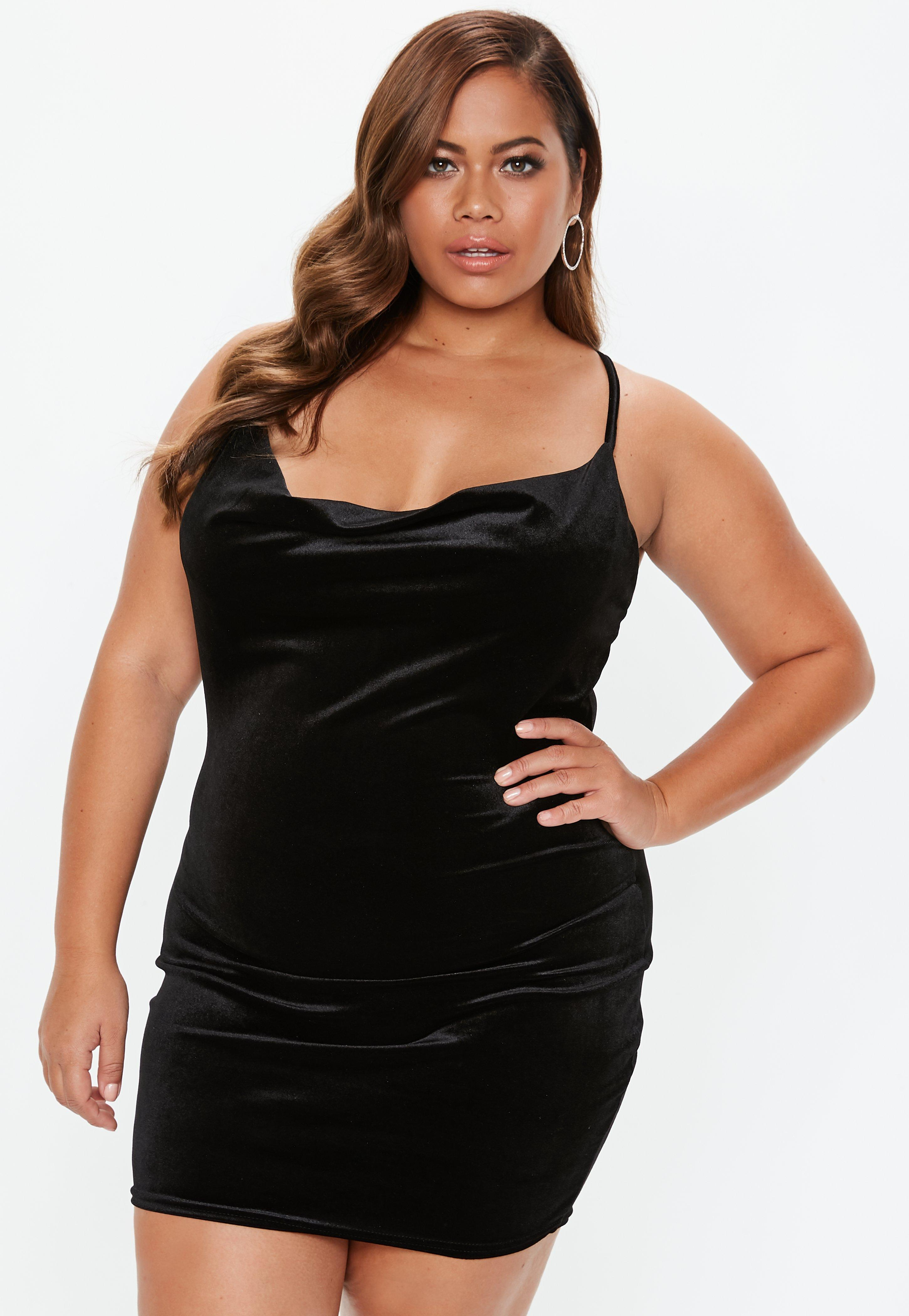 7bab895e1b826 Lyst - Missguided Plus Size Black Cowl Neck Strappy Velvet Dress in ...