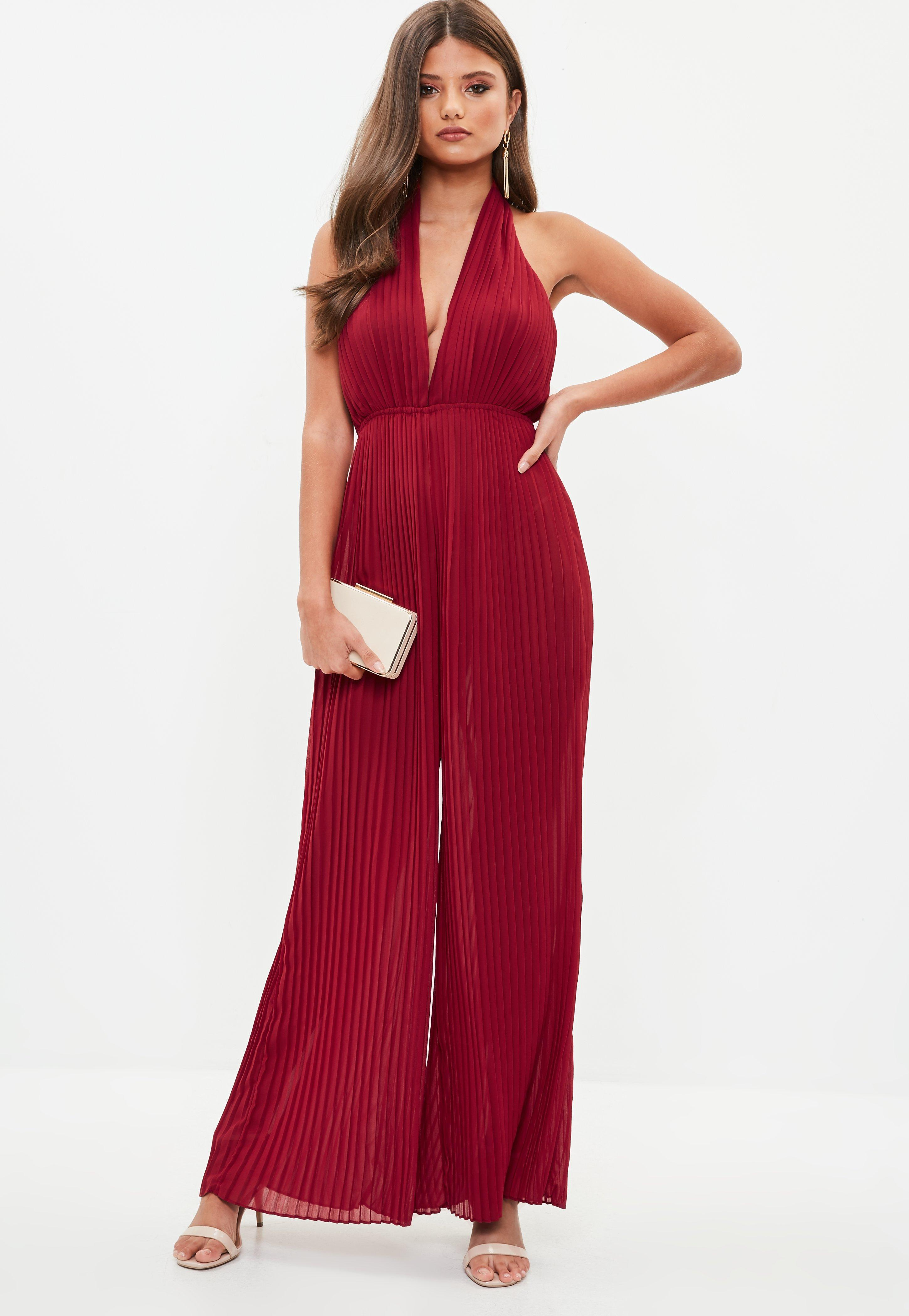 967790003c31 Missguided Red Pleated Halterneck Jumpsuit in Red - Lyst