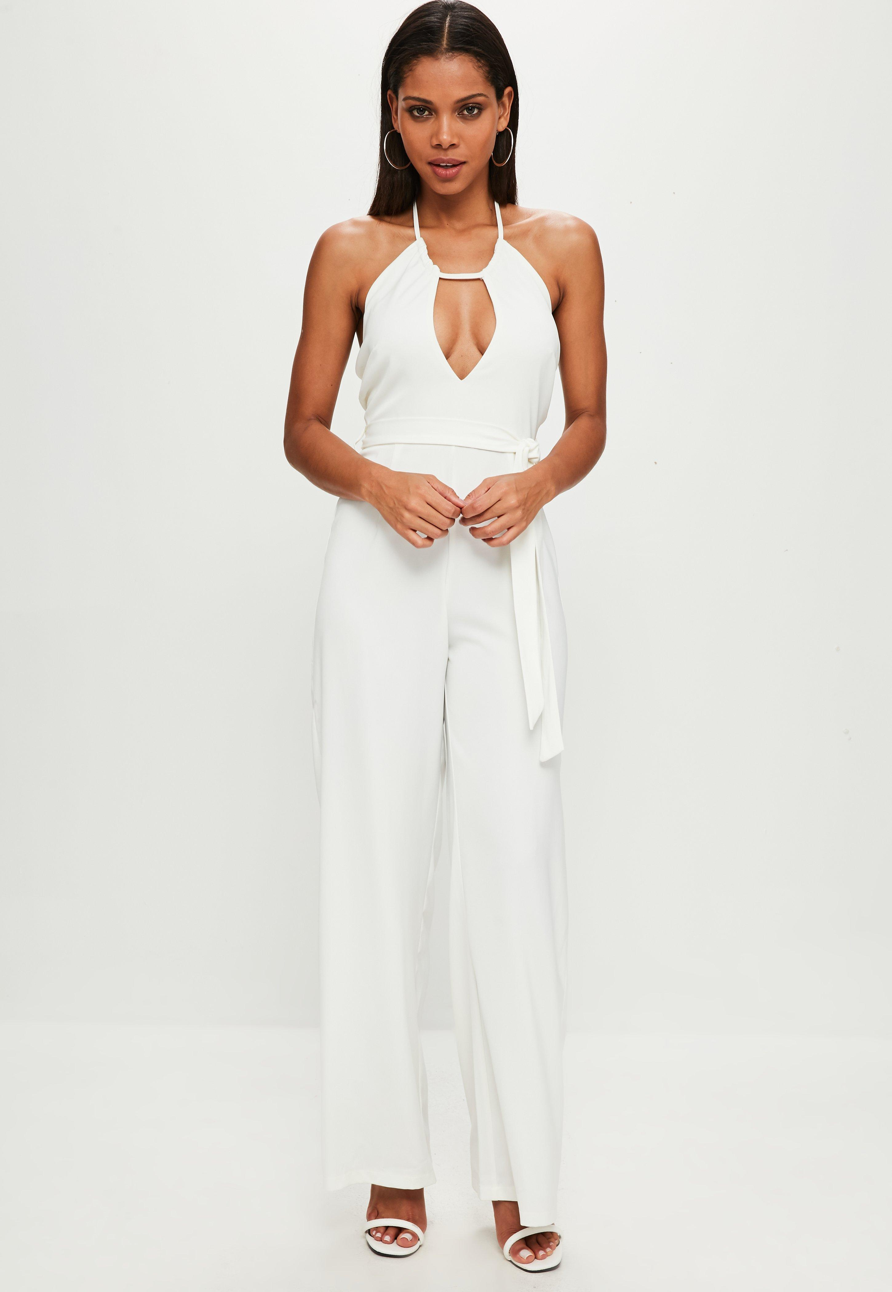 9b0761663eb Lyst - Missguided White Keyhole Wide Leg Jumpsuit in White