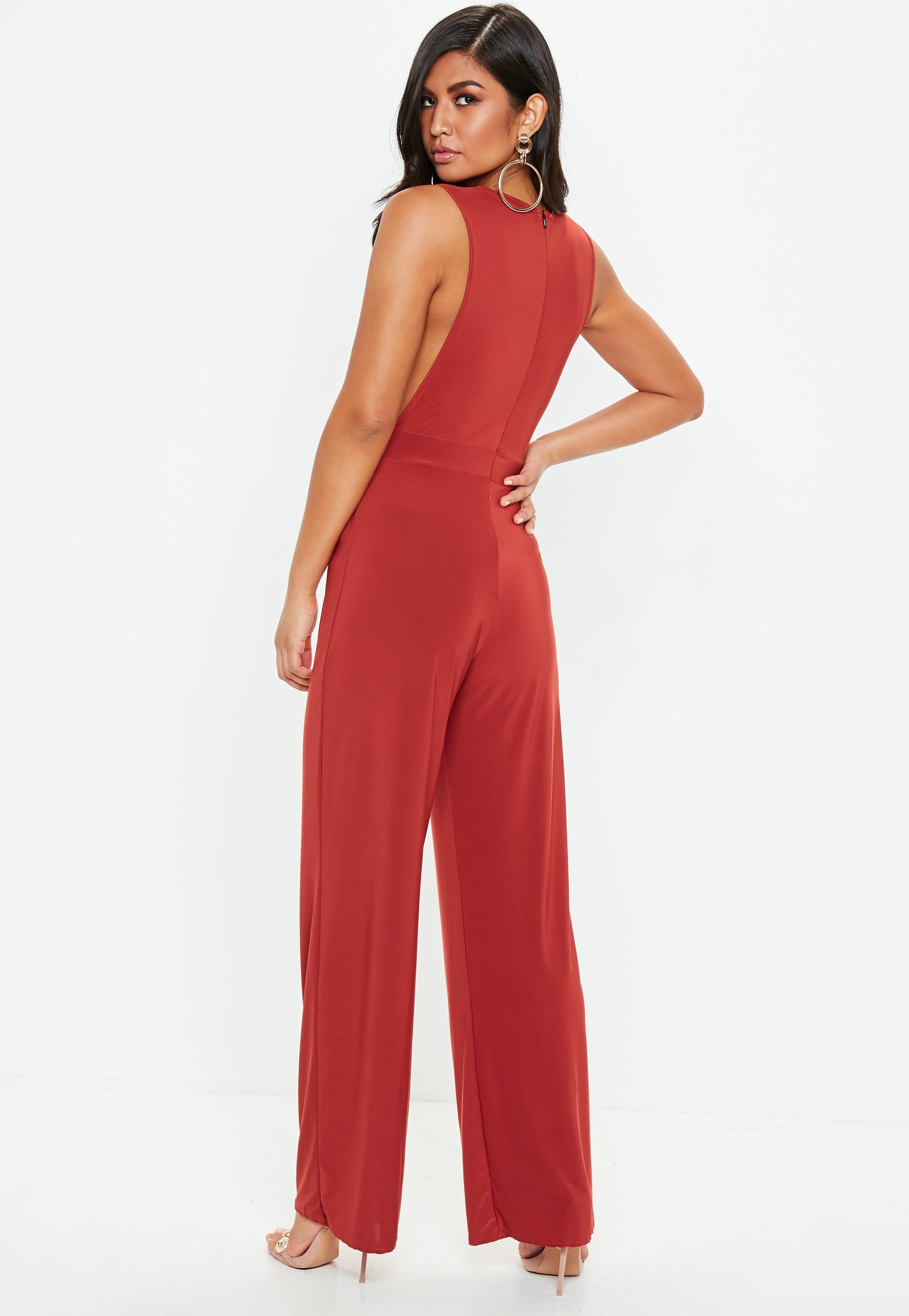 8baff73f0536 Lyst - Missguided Rust Slinky Side Boob Jumpsuit in Red
