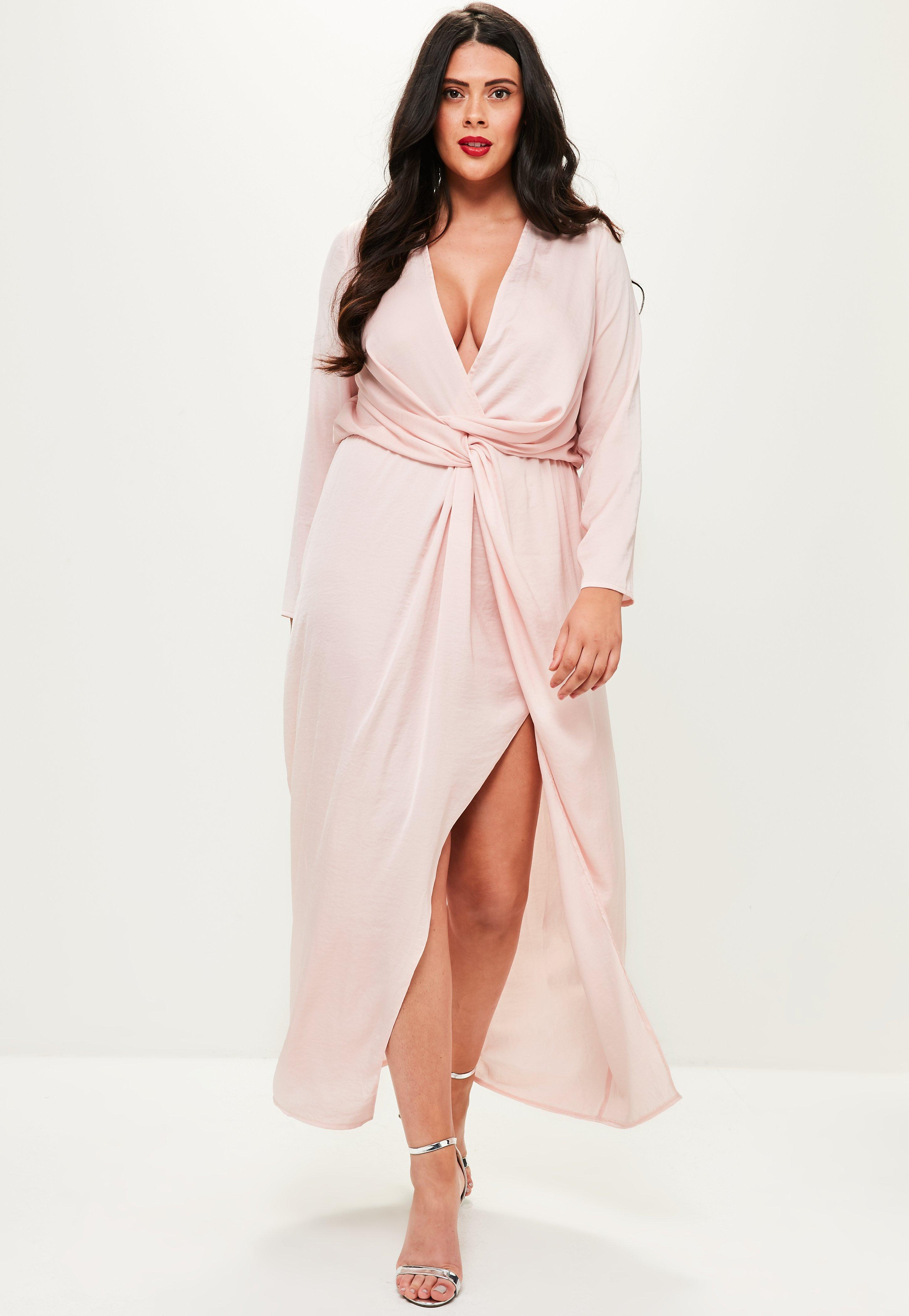 Lyst - Missguided Curve Pink Satin Thigh Split Wrap Maxi Dress in Pink 4f420eb2b