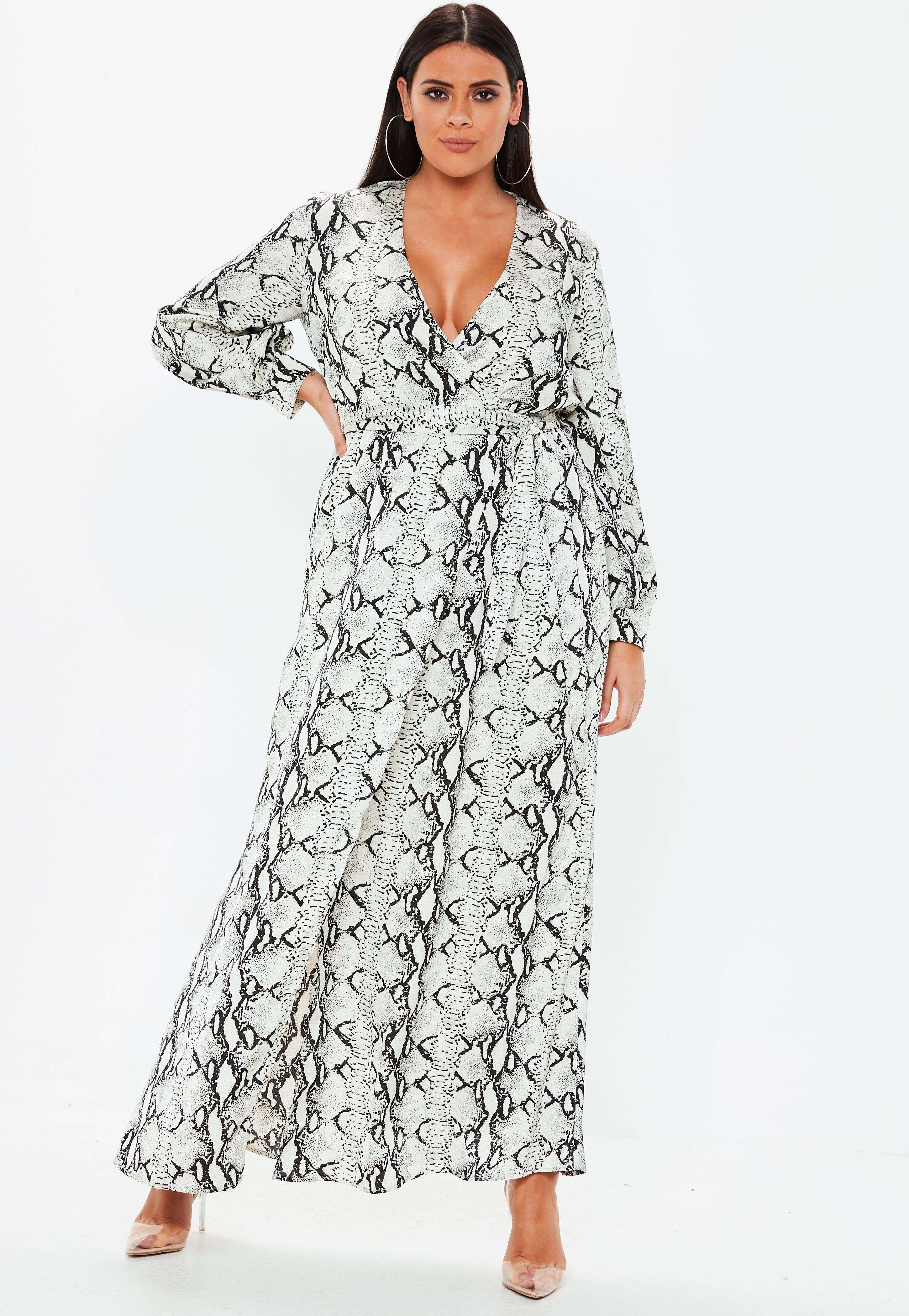 3233e45f269 Lyst - Missguided Plus Size Gray Snake Print Plunge Maxi Dress in Gray