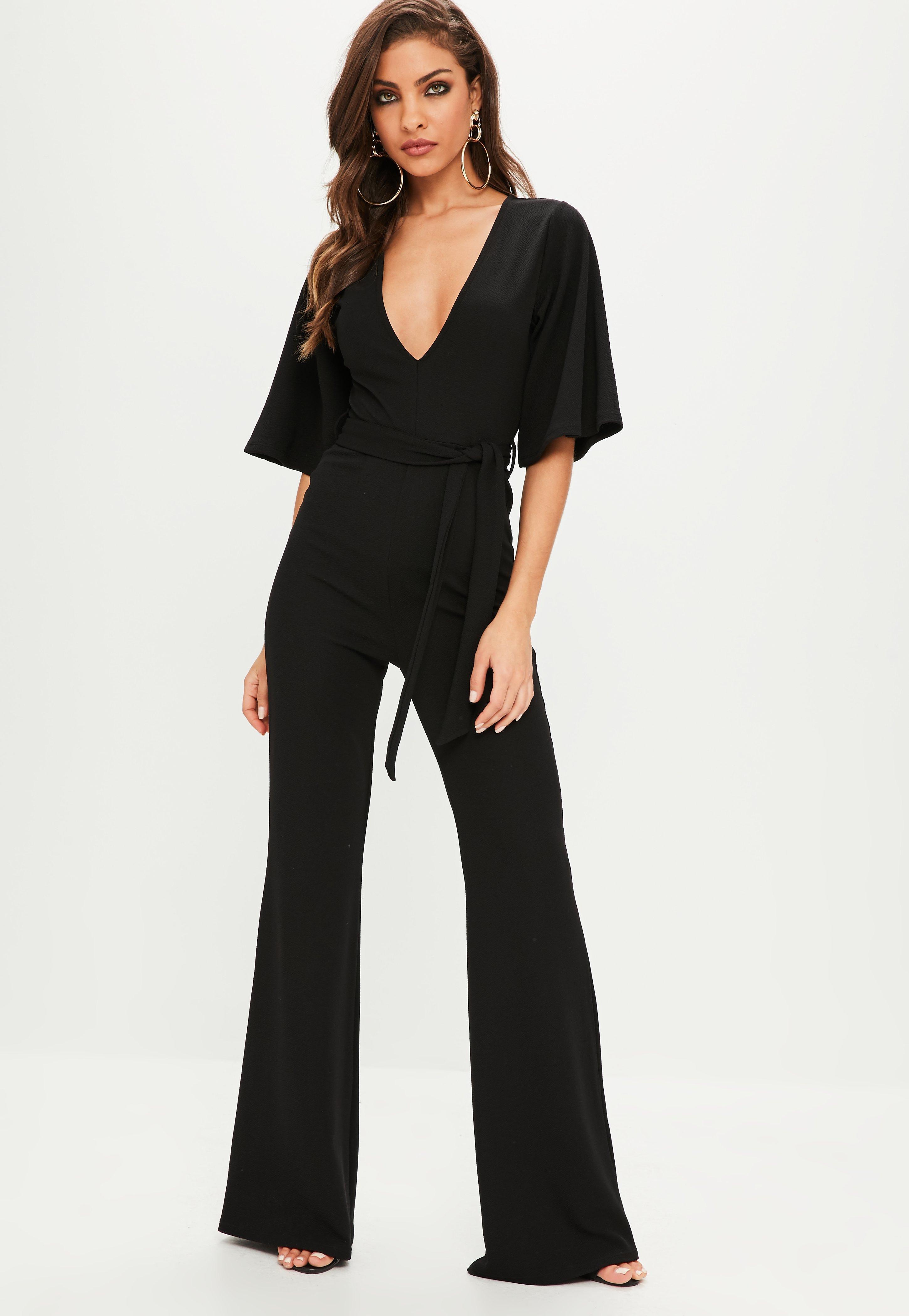 ceb3f594156 Missguided - Black Plunge Kimono Sleeve Jumpsuit - Lyst. View fullscreen