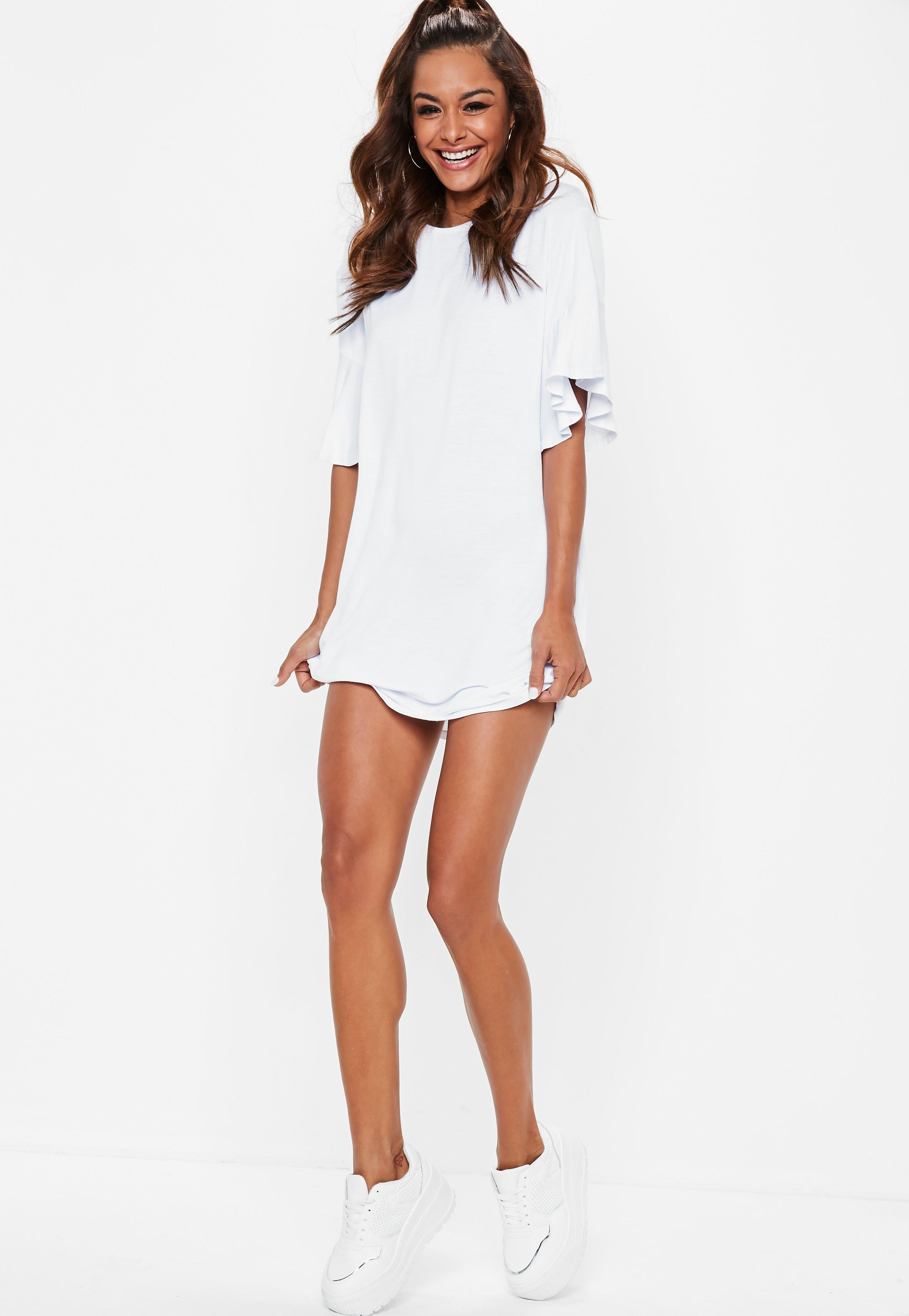 d0ac5945f78 Missguided White Frill Sleeve T Shirt Dress in White - Lyst
