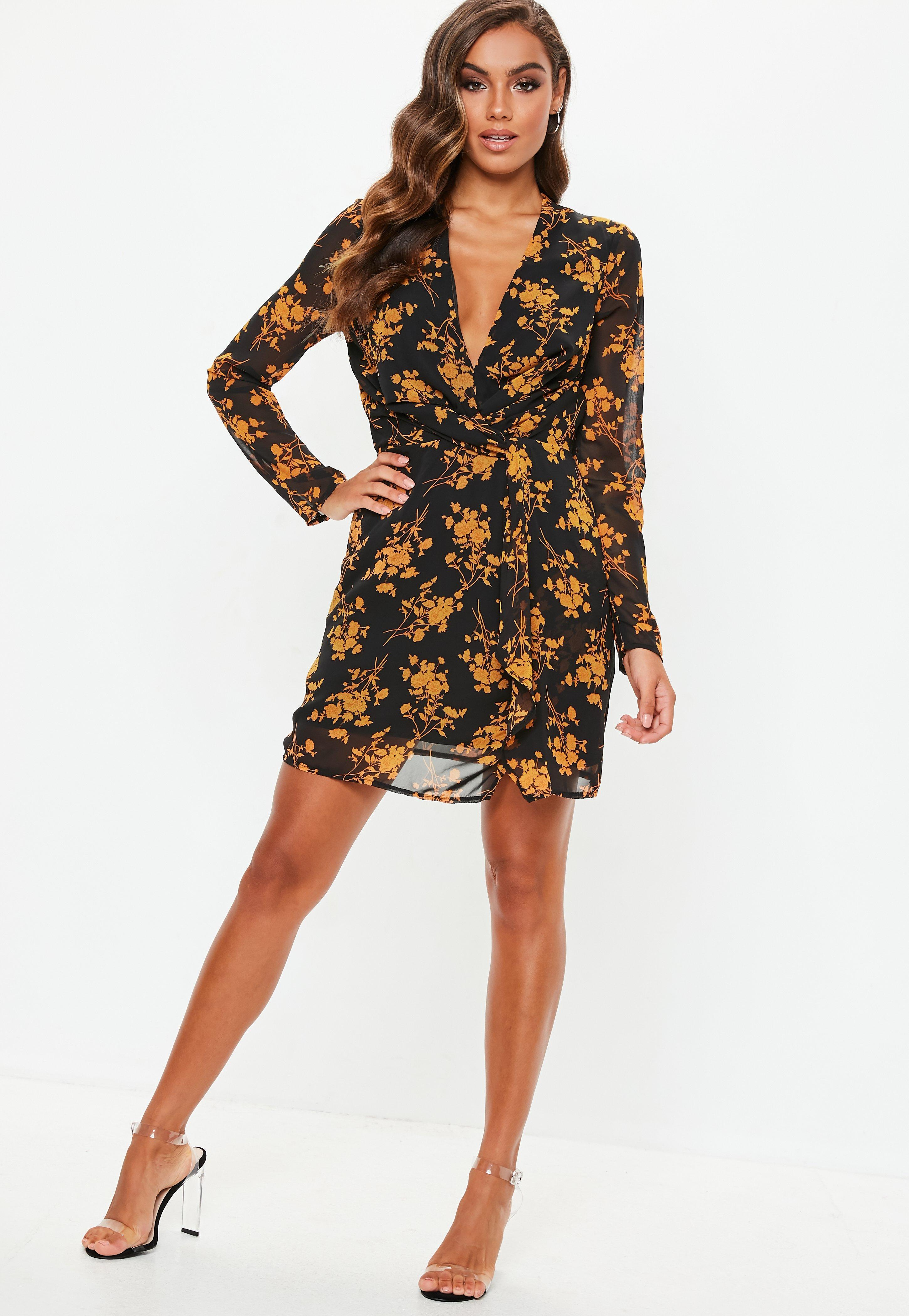 f95486f48eab Lyst - Missguided Tall Black Floral Slinky Plunge Shift Dress in Black