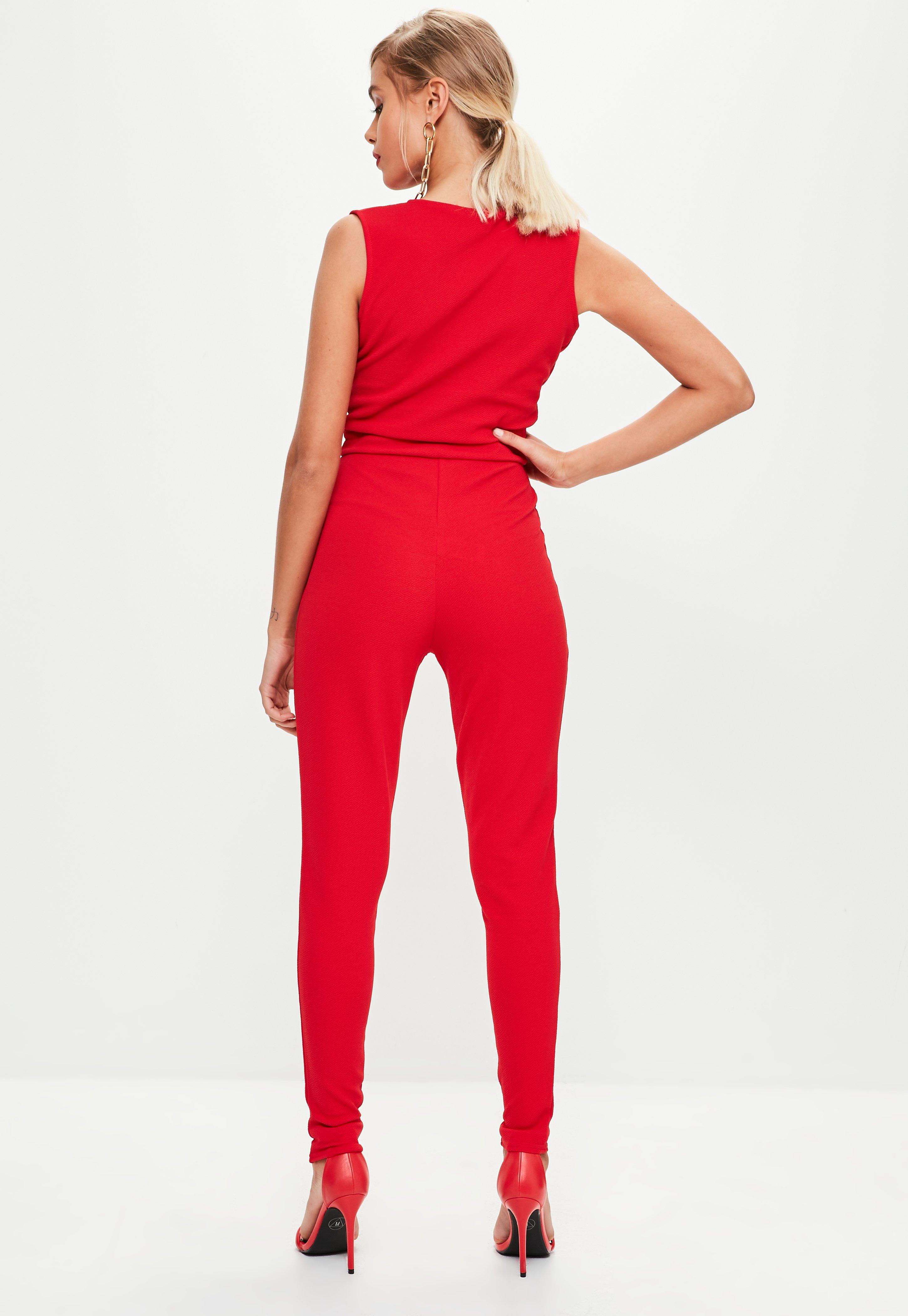 e1251442164e Lyst - Missguided Red Plunge Front Unitard Jumpsuit in Red
